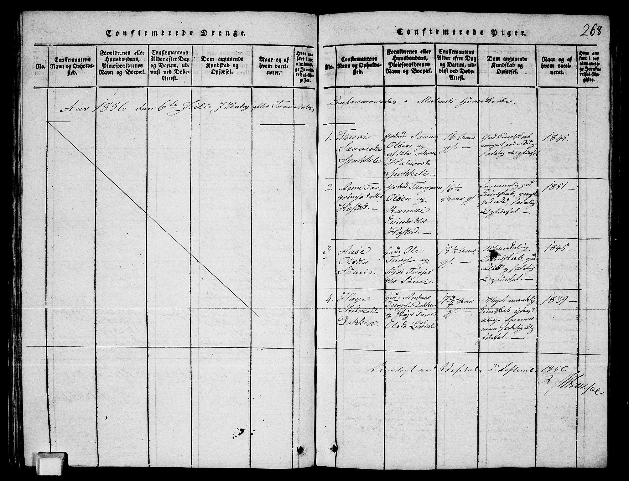 SAKO, Fyresdal kirkebøker, G/Ga/L0003: Klokkerbok nr. I 3, 1815-1863, s. 268