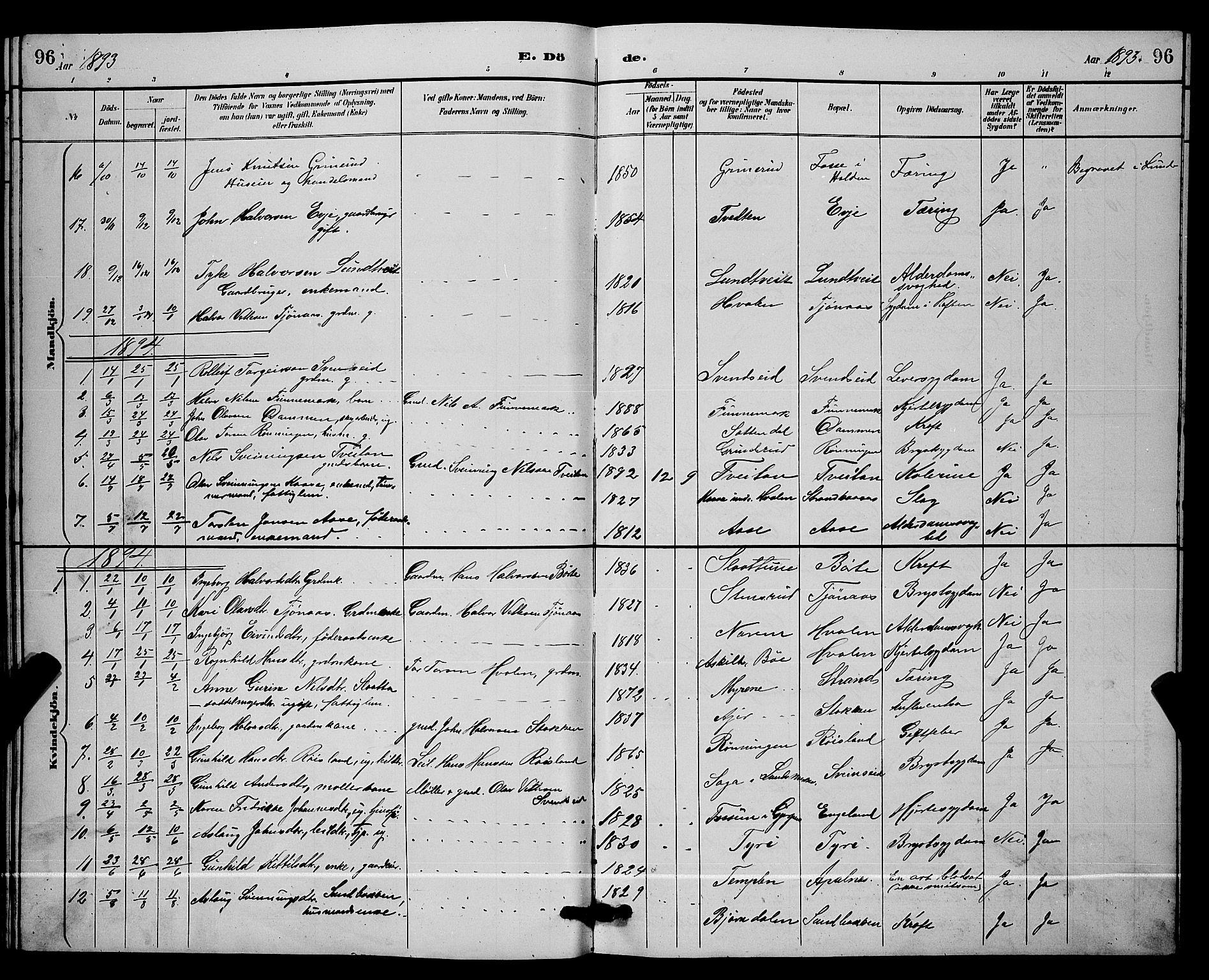 SAKO, Lunde kirkebøker, G/Ga/L0002: Klokkerbok nr. I 2, 1887-1896, s. 96