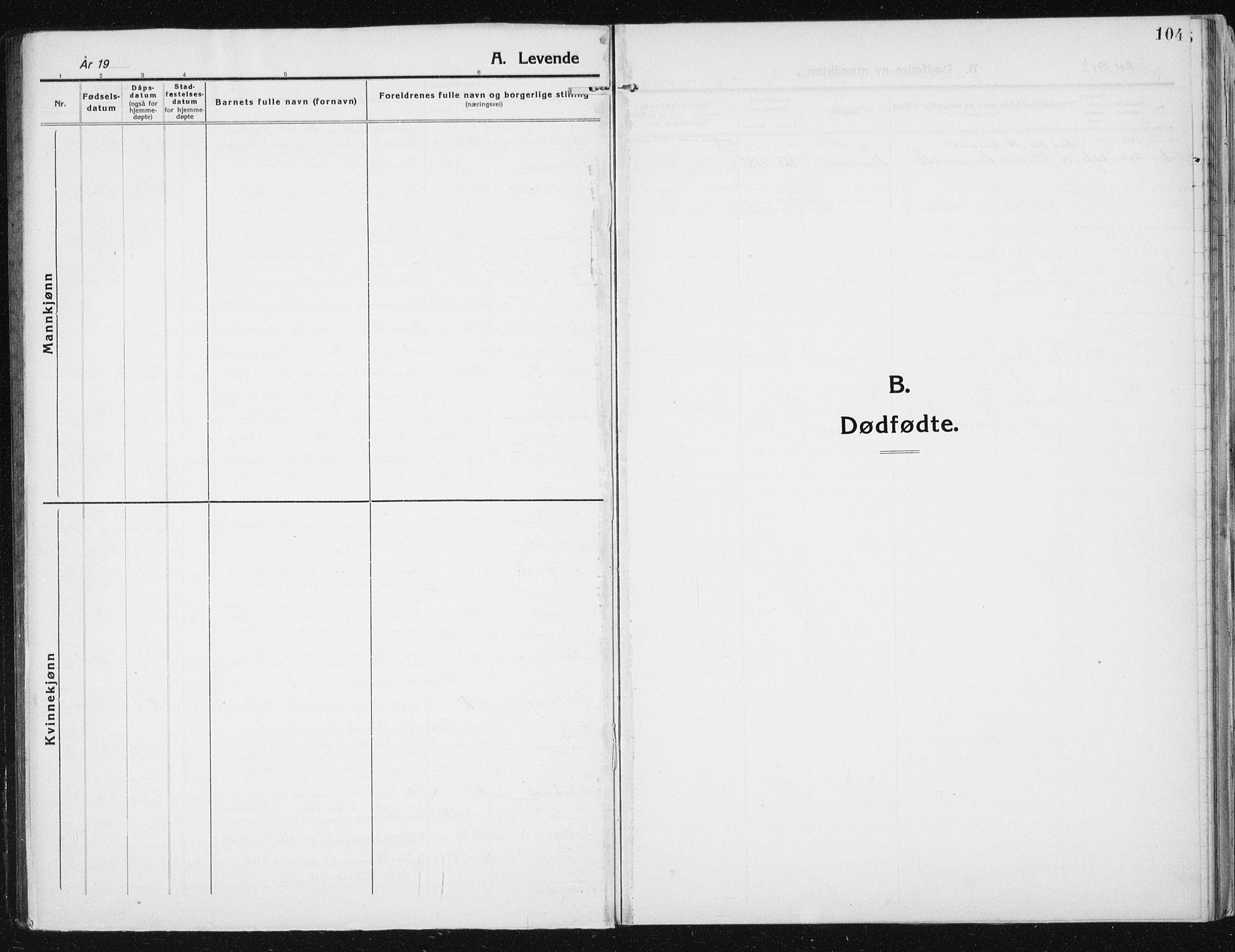 SAT, Ministerialprotokoller, klokkerbøker og fødselsregistre - Sør-Trøndelag, 641/L0599: Klokkerbok nr. 641C03, 1910-1938, s. 104