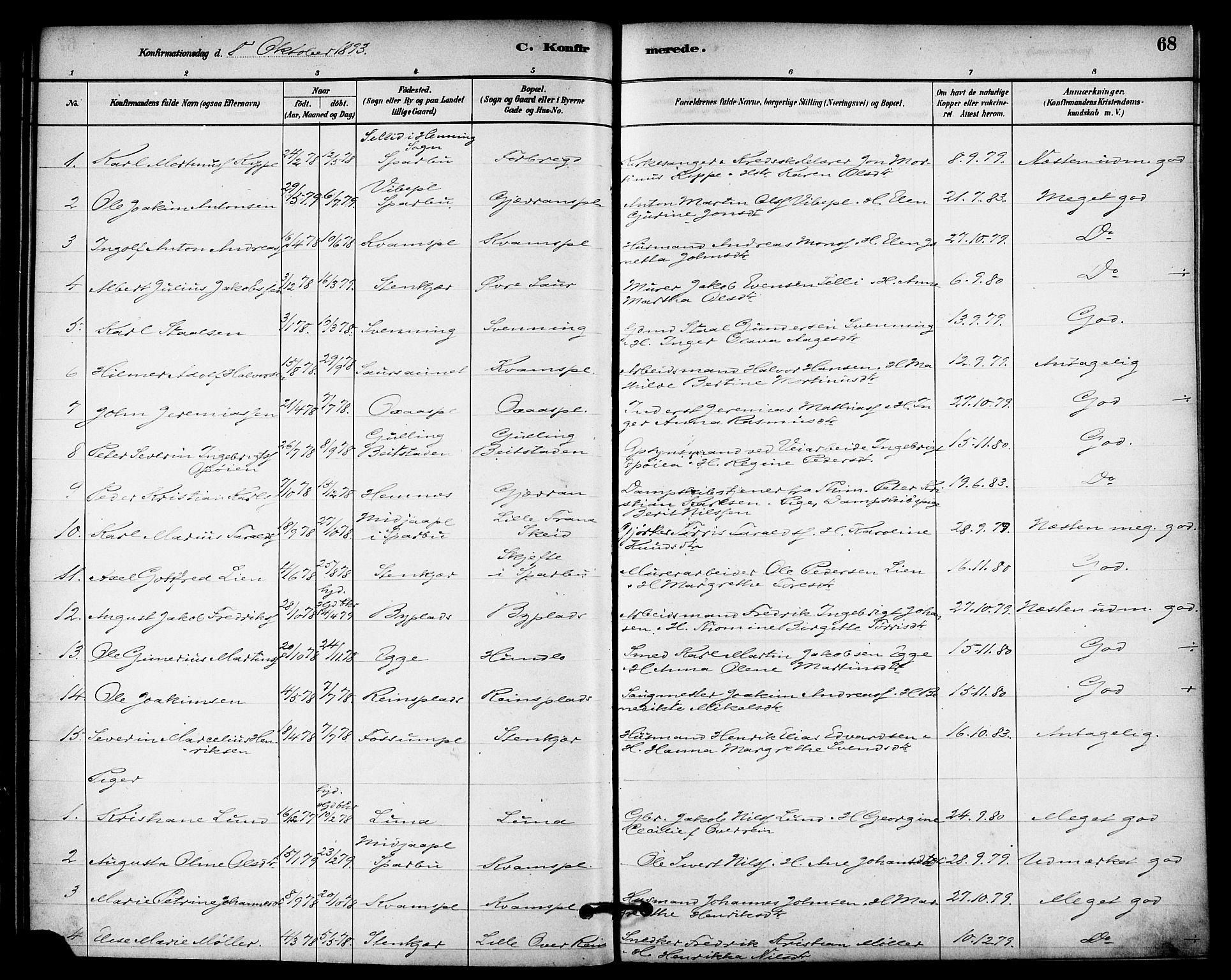 SAT, Ministerialprotokoller, klokkerbøker og fødselsregistre - Nord-Trøndelag, 740/L0378: Ministerialbok nr. 740A01, 1881-1895, s. 68