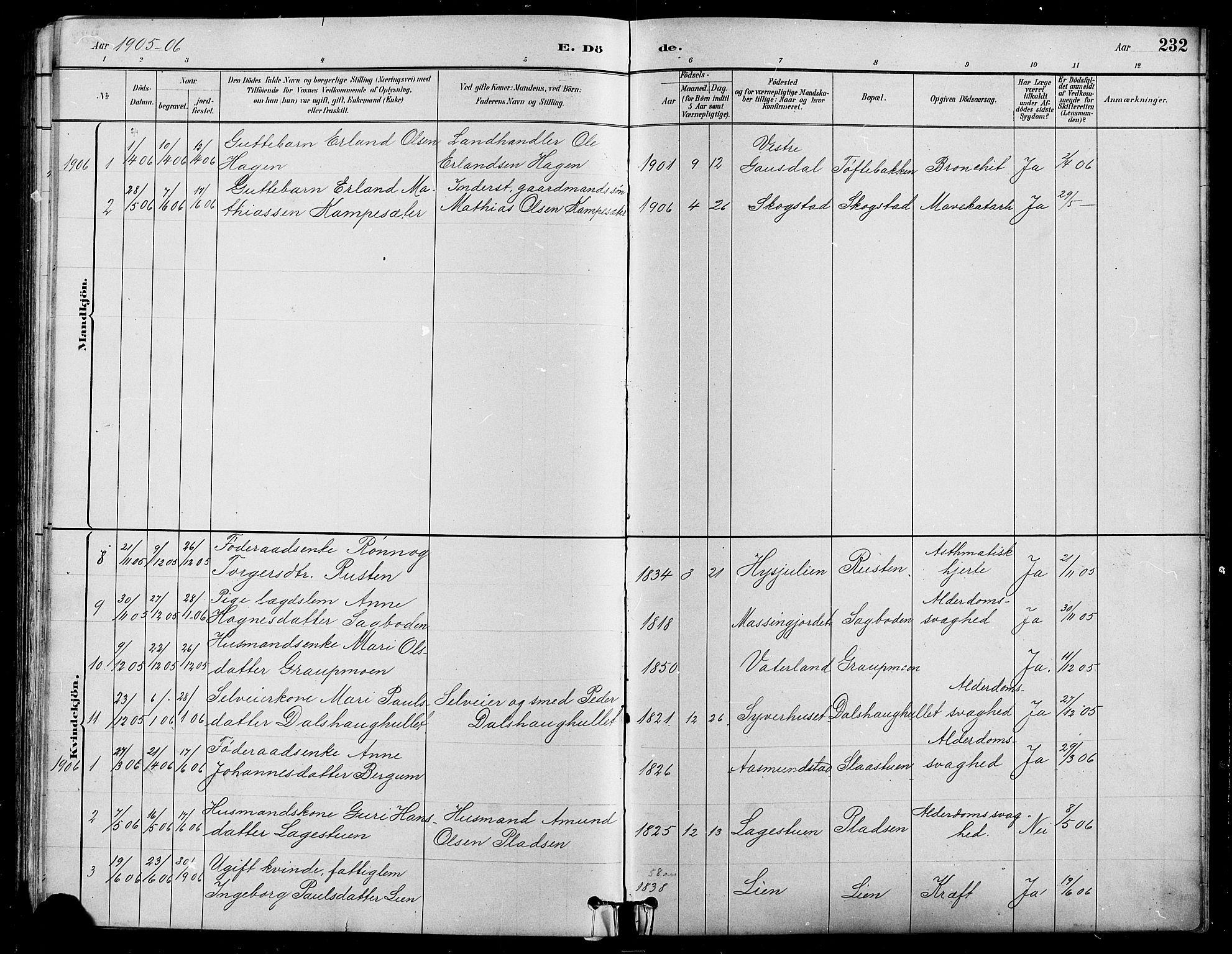 SAH, Nord-Fron prestekontor, Klokkerbok nr. 5, 1884-1914, s. 232