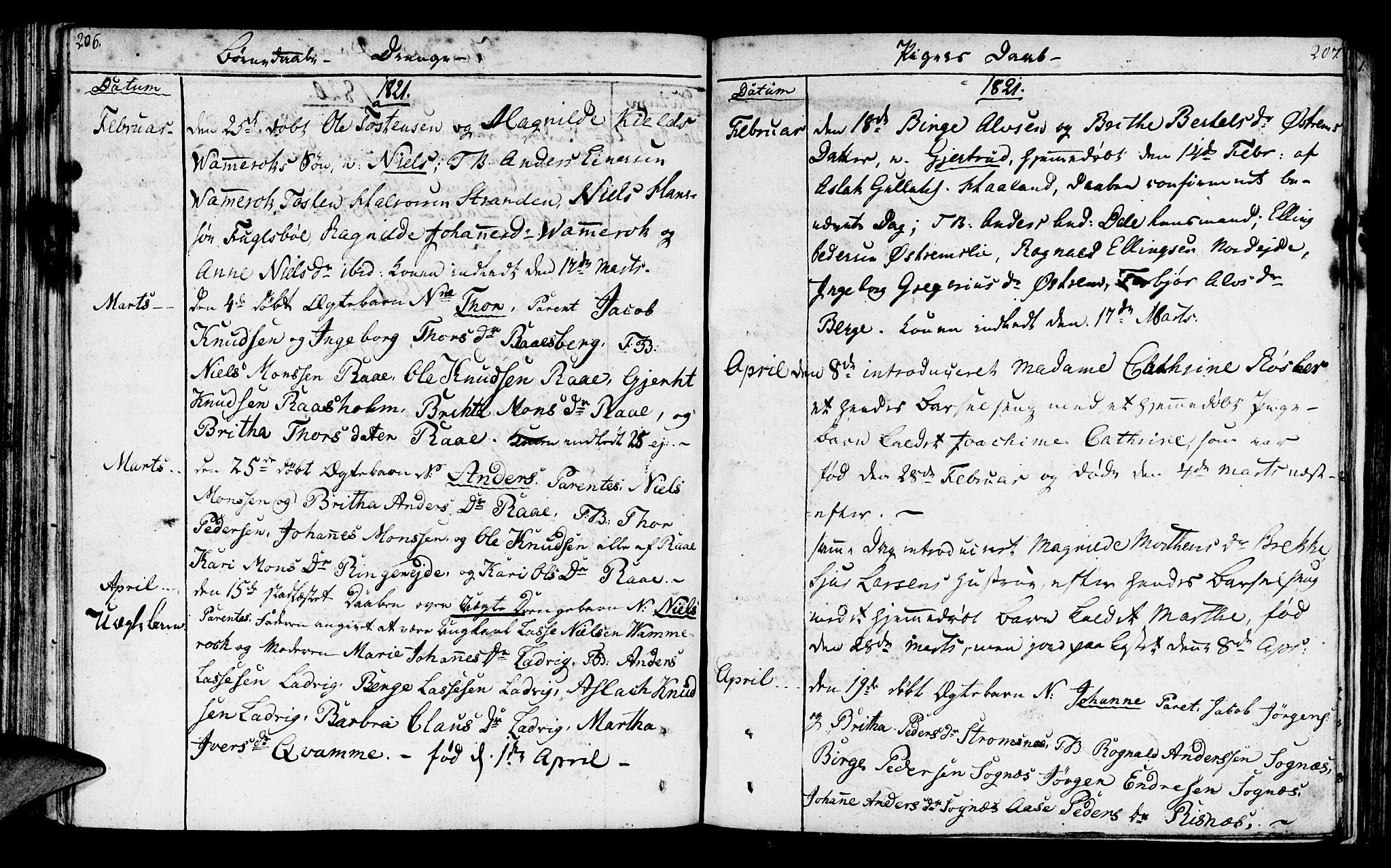 SAB, Lavik sokneprestembete, Ministerialbok nr. A 1, 1809-1822, s. 206-207
