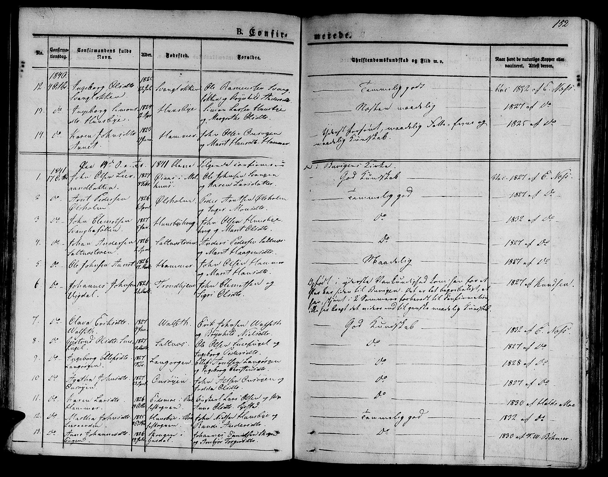 SAT, Ministerialprotokoller, klokkerbøker og fødselsregistre - Sør-Trøndelag, 612/L0375: Ministerialbok nr. 612A07 /2, 1829-1845, s. 152