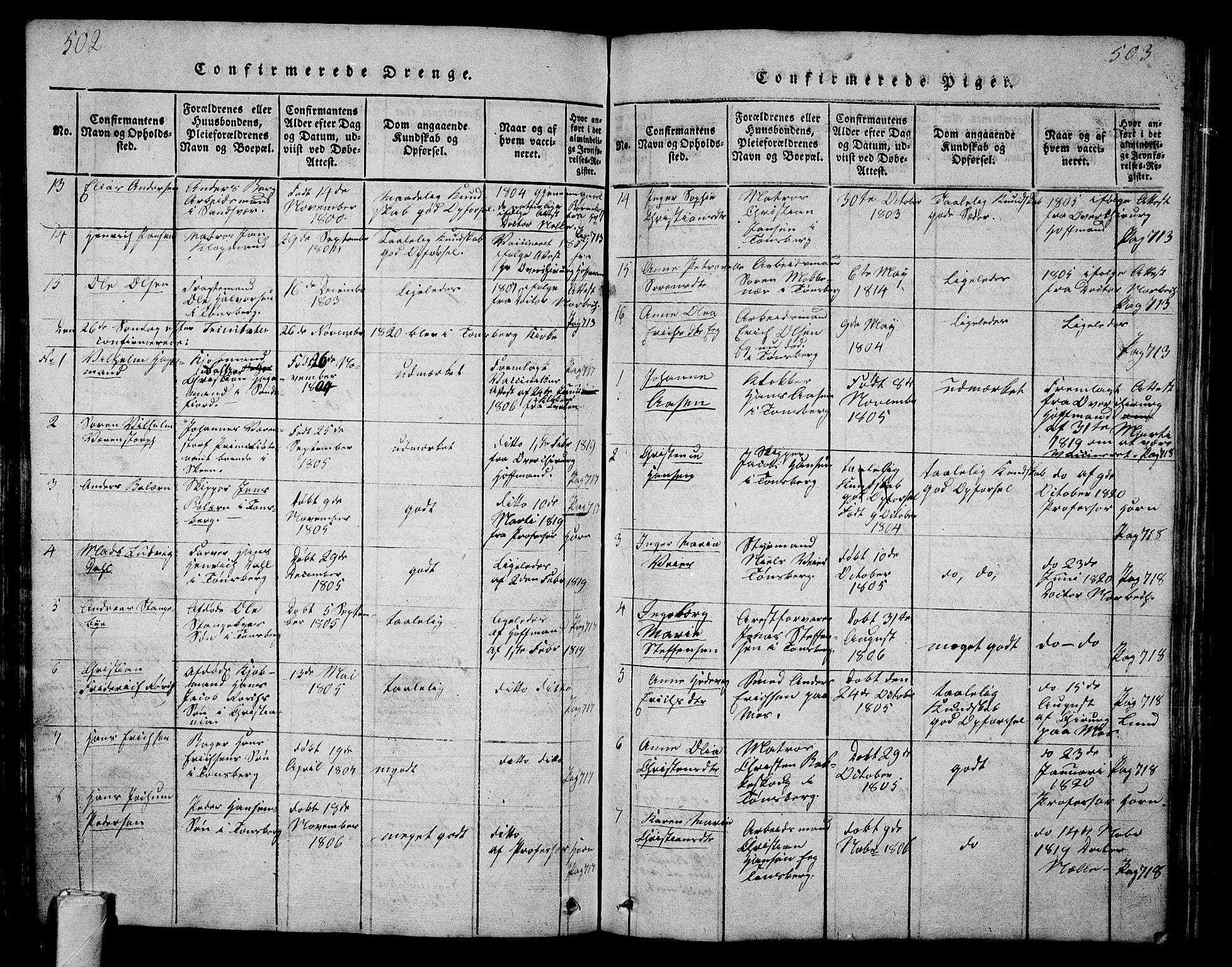 SAKO, Tønsberg kirkebøker, G/Ga/L0001: Klokkerbok nr. 1, 1813-1826, s. 502-503