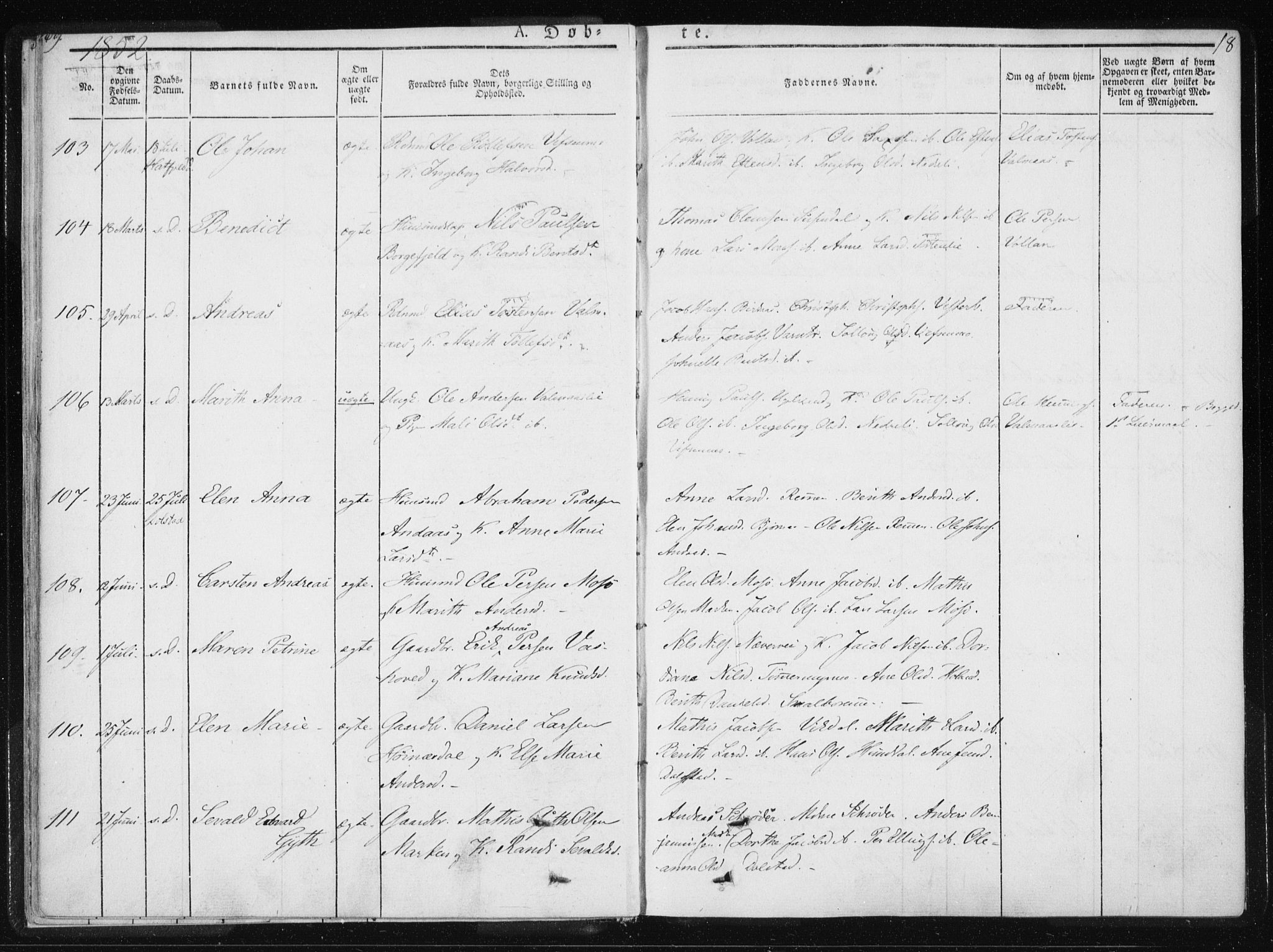 SAT, Ministerialprotokoller, klokkerbøker og fødselsregistre - Nordland, 820/L0292: Ministerialbok nr. 820A13, 1851-1854, s. 18