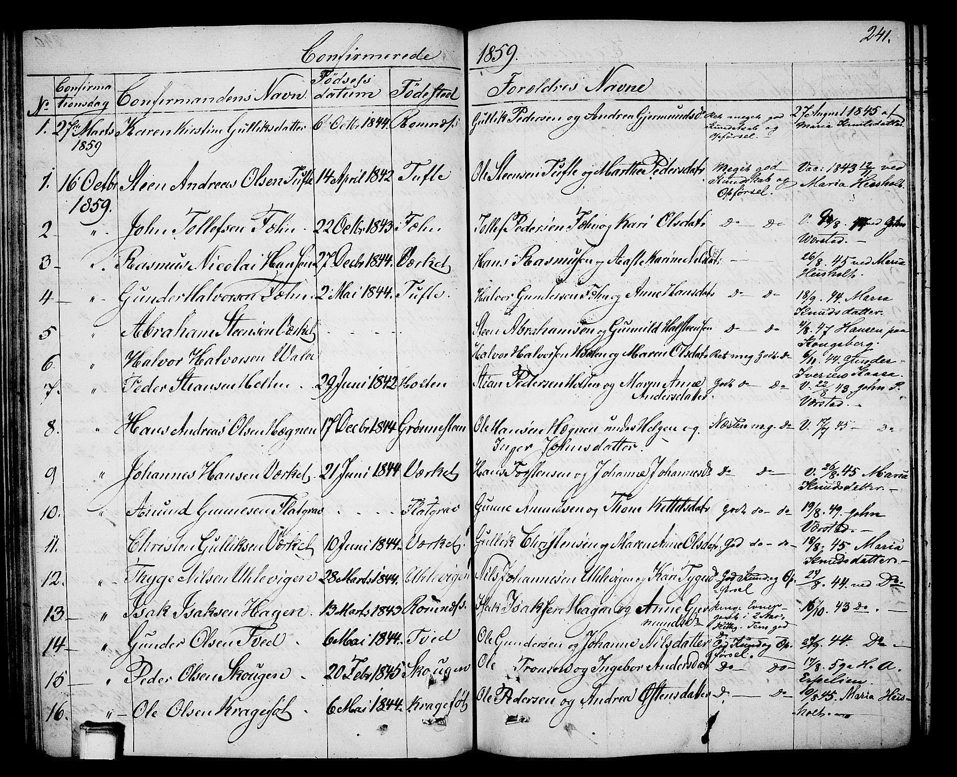 SAKO, Holla kirkebøker, G/Ga/L0003: Klokkerbok nr. I 3, 1849-1866, s. 241