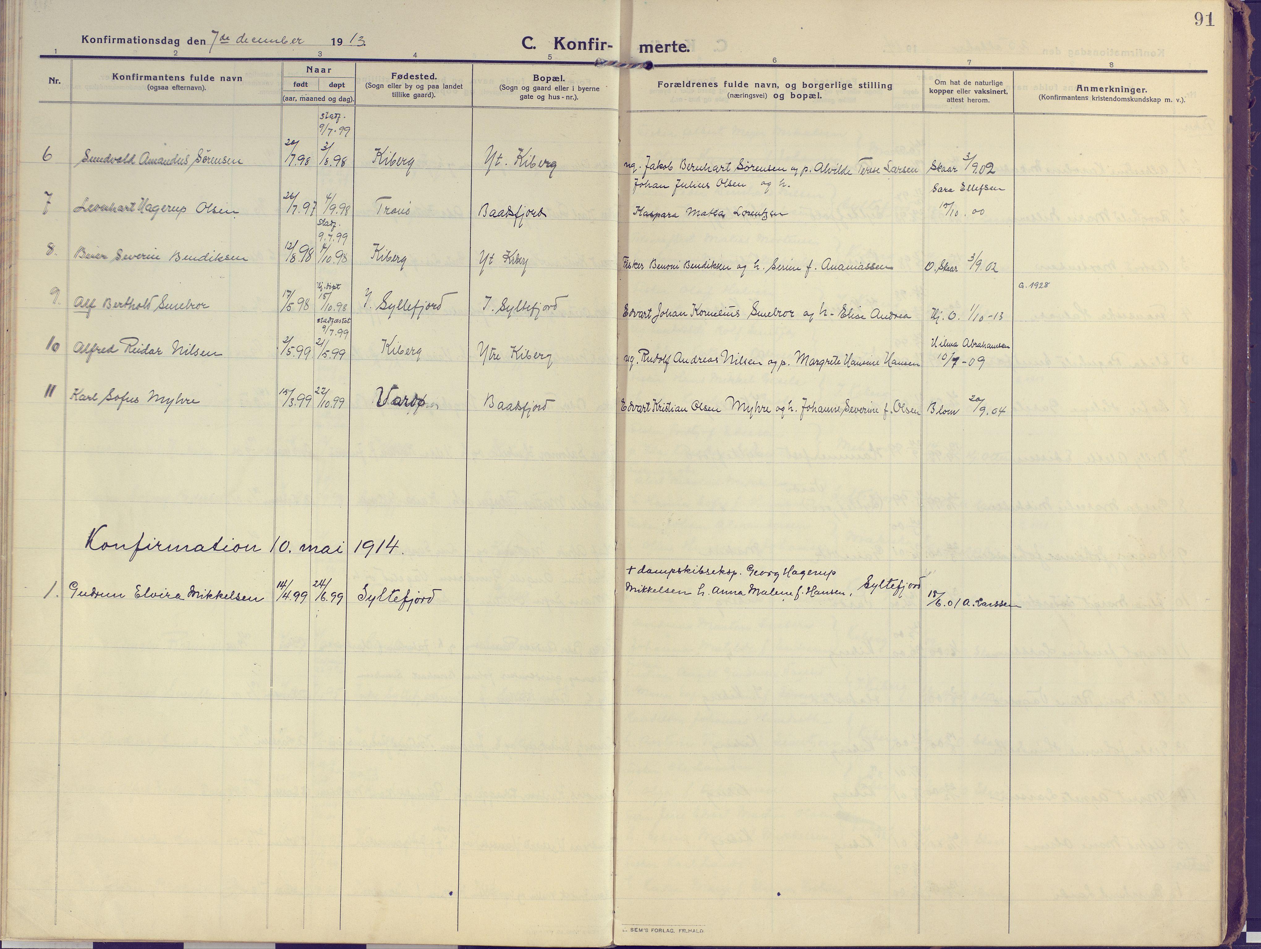 SATØ, Vardø sokneprestkontor, H/Ha/L0013kirke: Ministerialbok nr. 13, 1912-1928, s. 91