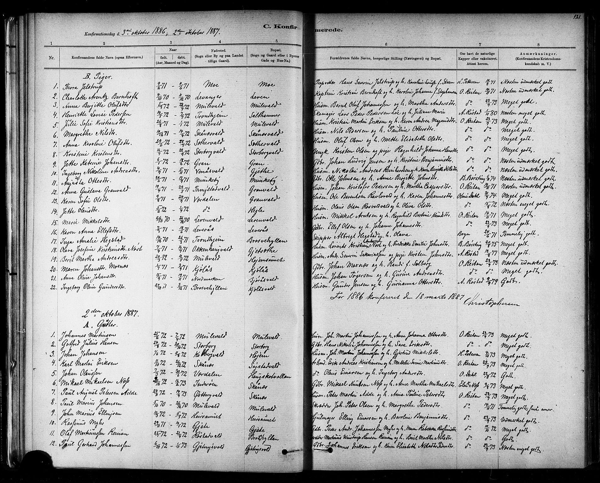 SAT, Ministerialprotokoller, klokkerbøker og fødselsregistre - Nord-Trøndelag, 721/L0208: Klokkerbok nr. 721C01, 1880-1917, s. 121