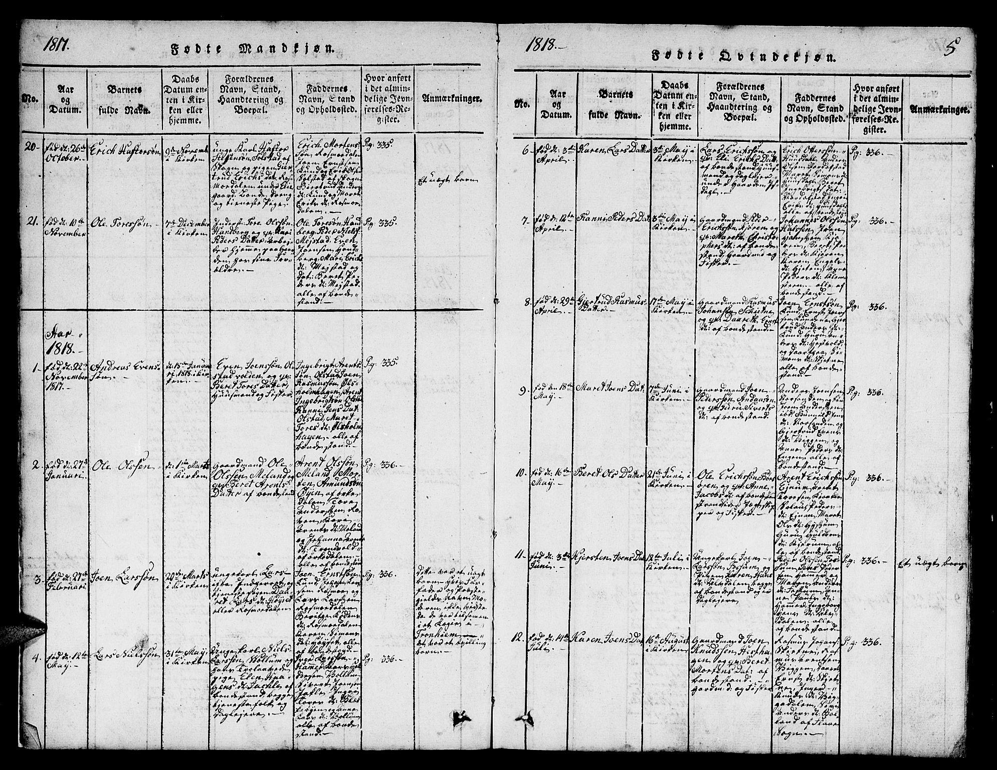 SAT, Ministerialprotokoller, klokkerbøker og fødselsregistre - Sør-Trøndelag, 665/L0776: Klokkerbok nr. 665C01, 1817-1837, s. 5