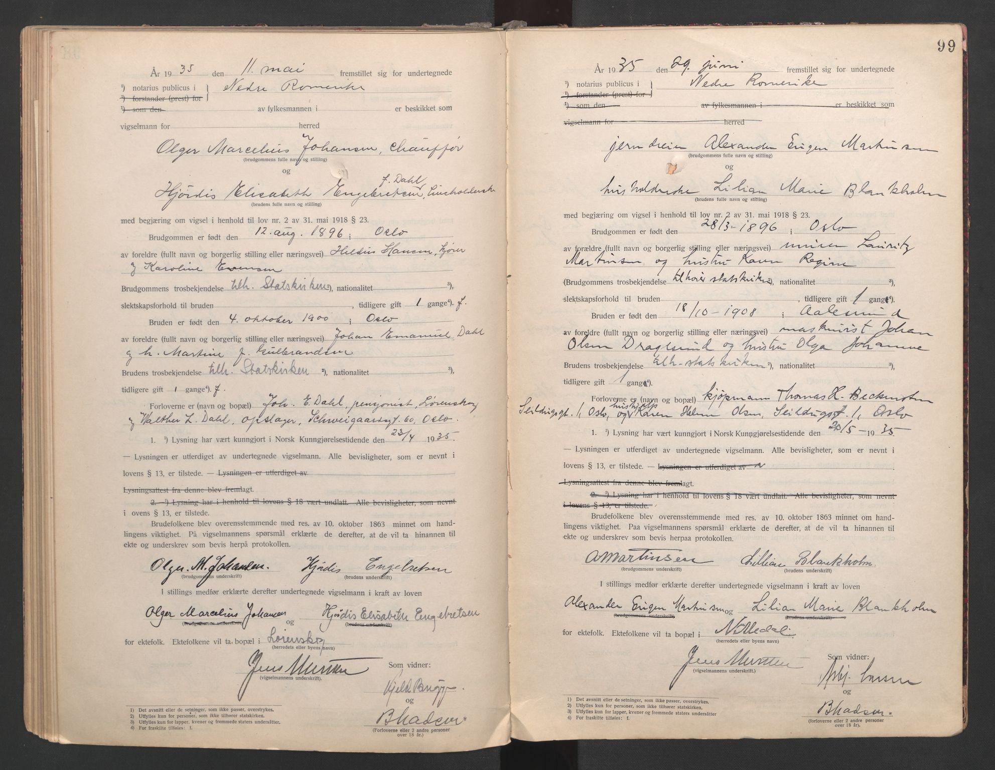 SAO, Nedre Romerike sorenskriveri, L/Lb/L0001: Vigselsbok - borgerlige vielser, 1920-1935, s. 99