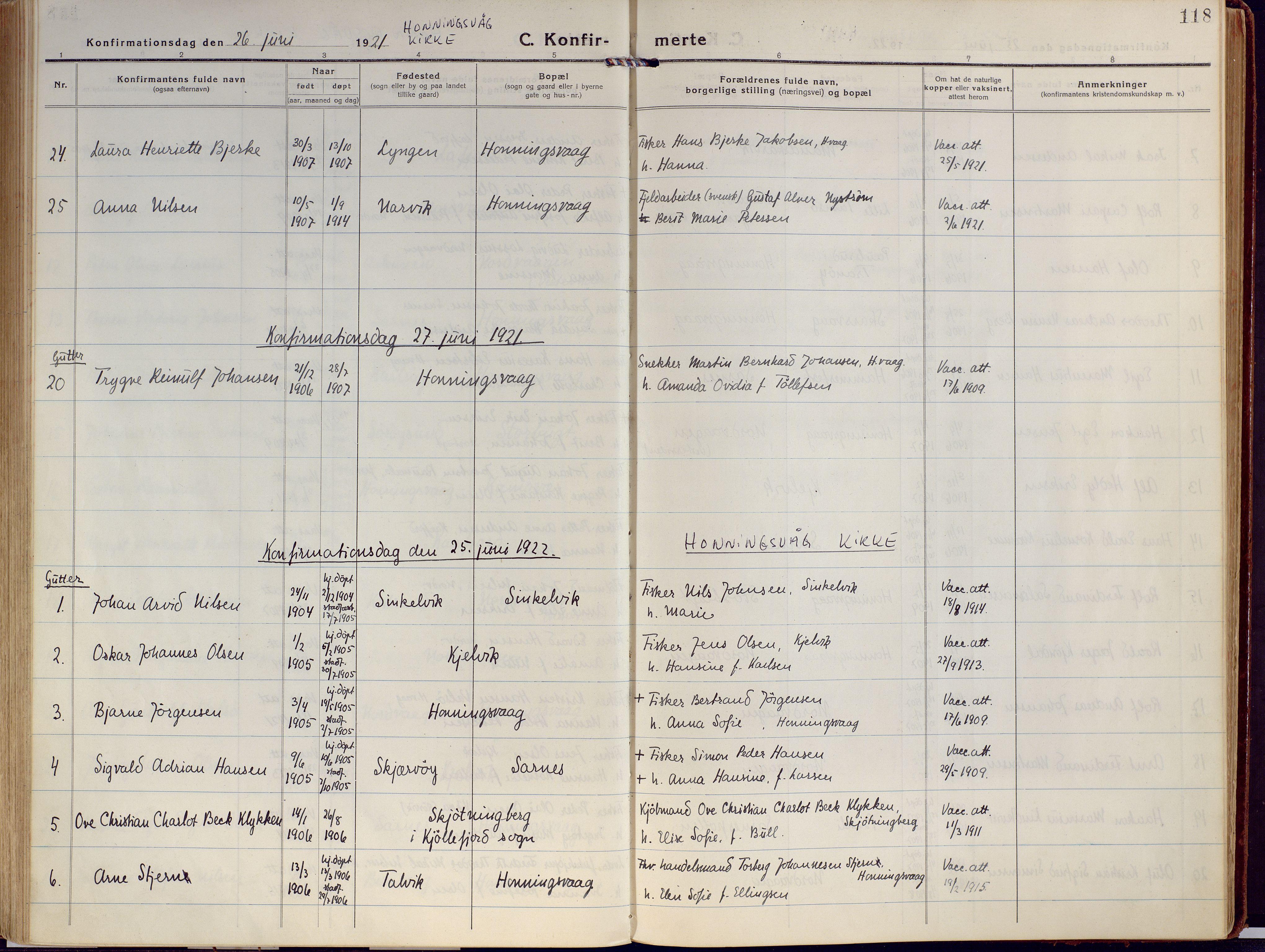 SATØ, Kjelvik/Nordkapp sokneprestkontor, H/Ha/L0002kirke: Ministerialbok nr. 2, 1920-1929, s. 118