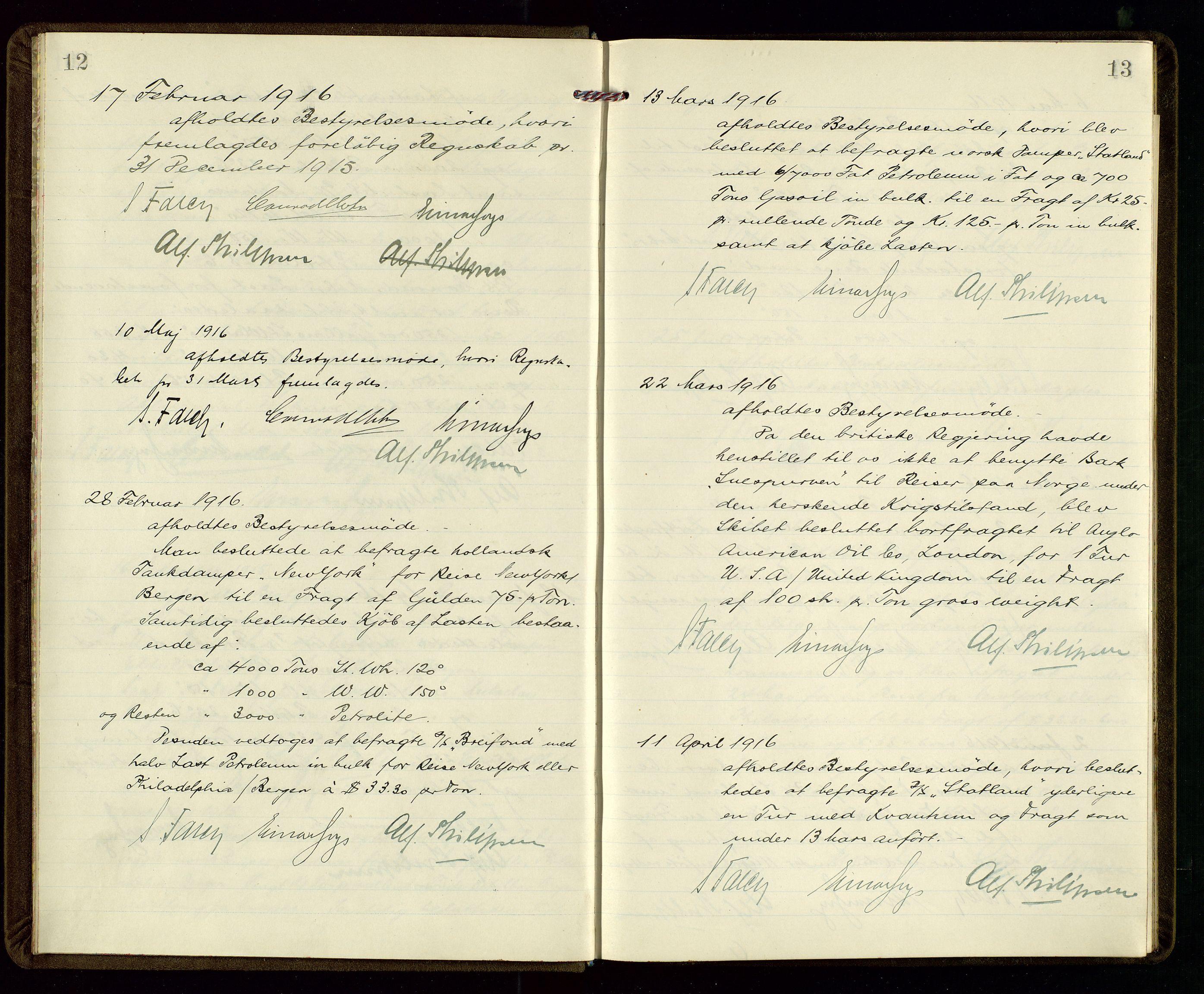SAST, PA 1533 - A/S Vestlandske Petroleumscompani, A/Aa/L0001: Generalforsamlinger og styreprotokoller, 1915-1922, s. 12-13