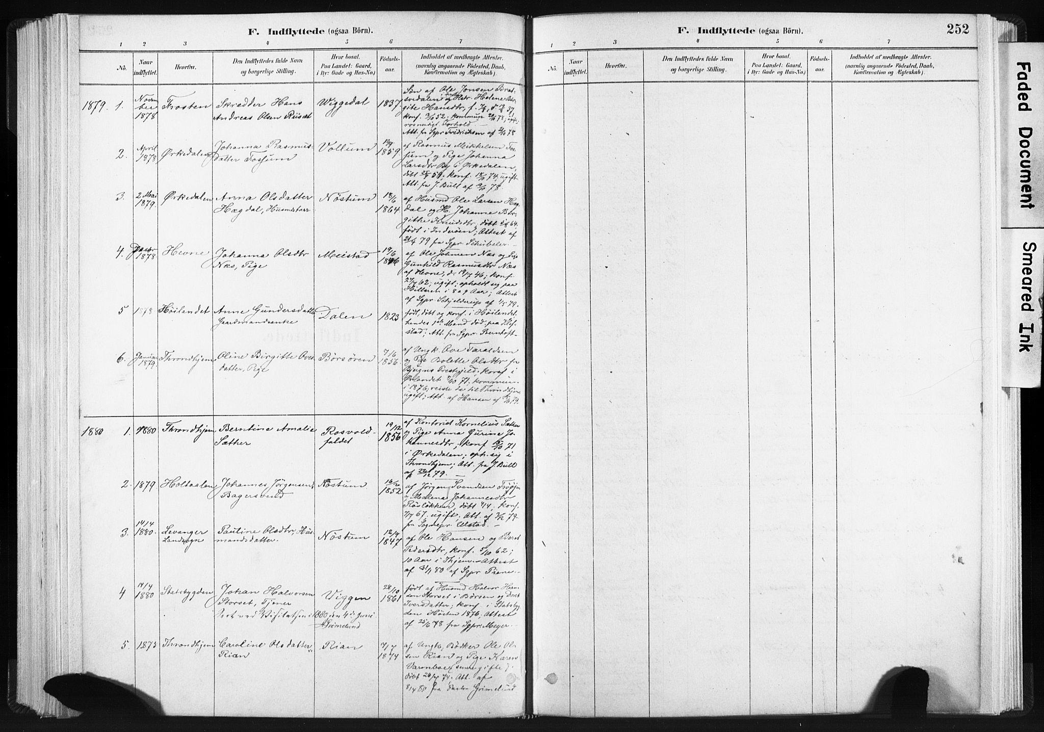 SAT, Ministerialprotokoller, klokkerbøker og fødselsregistre - Sør-Trøndelag, 665/L0773: Ministerialbok nr. 665A08, 1879-1905, s. 252