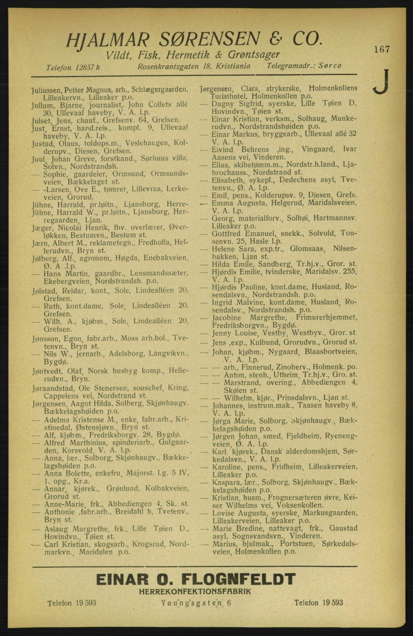 PUBL, Aker adressebok/adressekalender, 1922, s. 167