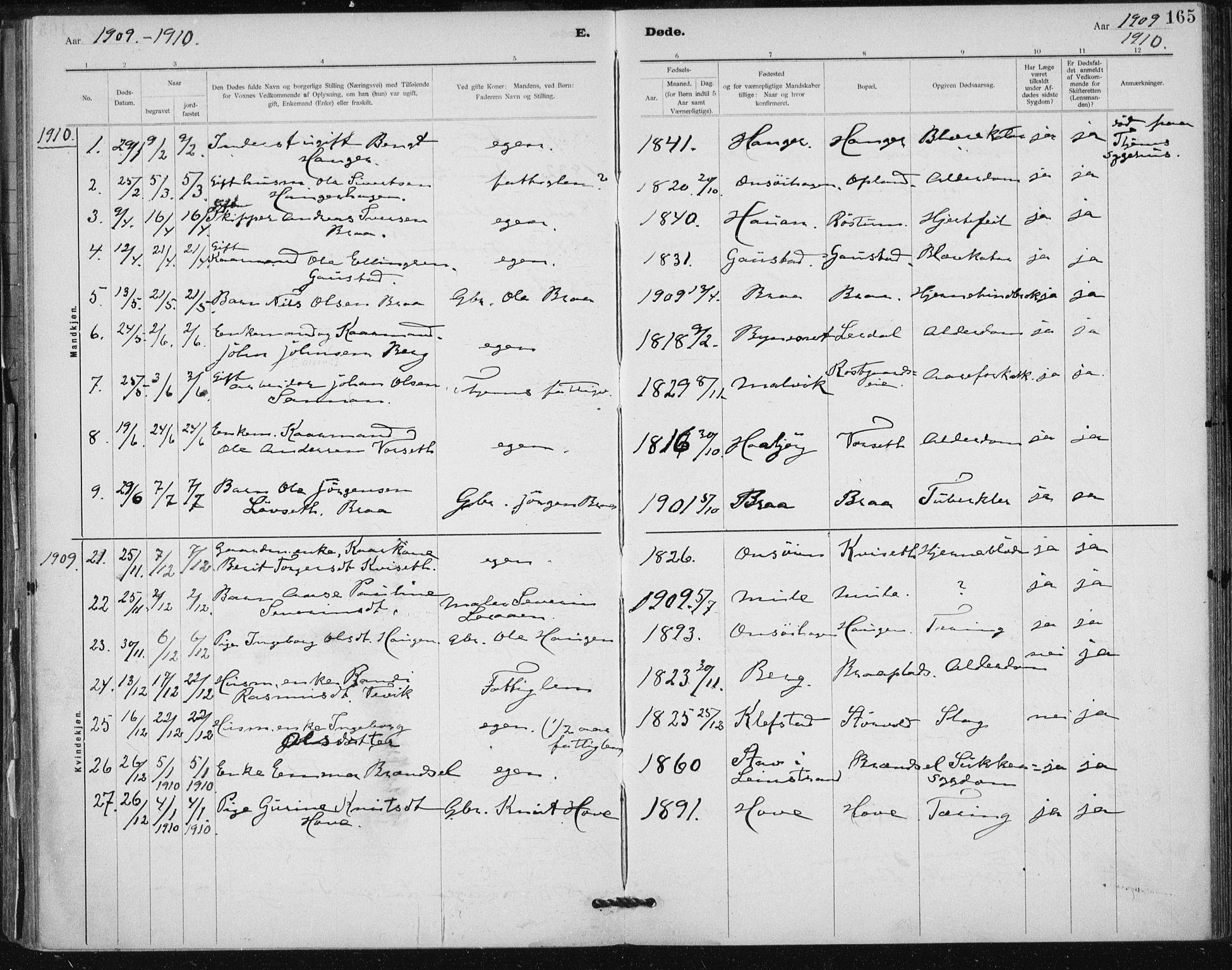 SAT, Ministerialprotokoller, klokkerbøker og fødselsregistre - Sør-Trøndelag, 612/L0381: Ministerialbok nr. 612A13, 1907-1923, s. 165