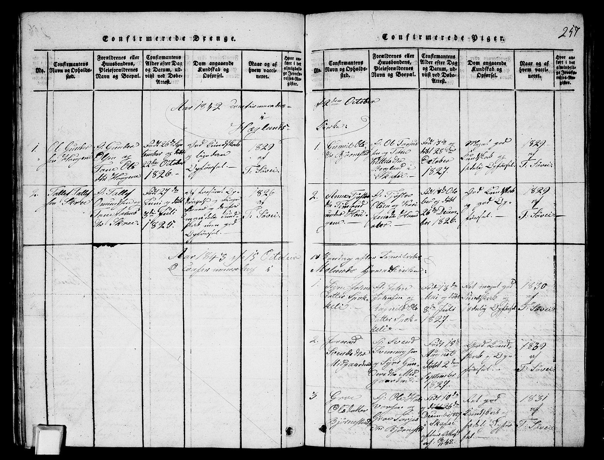 SAKO, Fyresdal kirkebøker, G/Ga/L0003: Klokkerbok nr. I 3, 1815-1863, s. 257