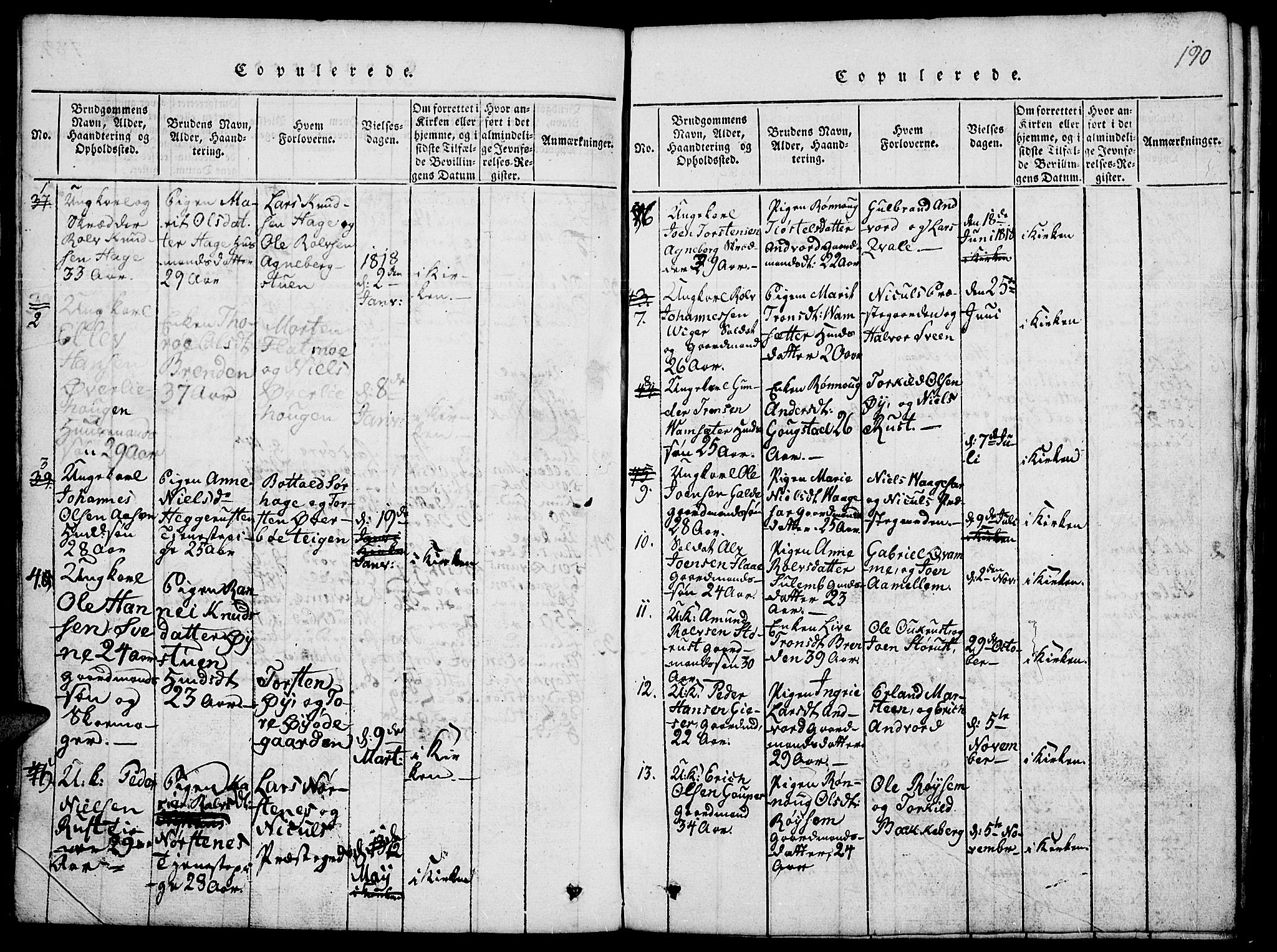 SAH, Lom prestekontor, L/L0001: Klokkerbok nr. 1, 1815-1836, s. 190