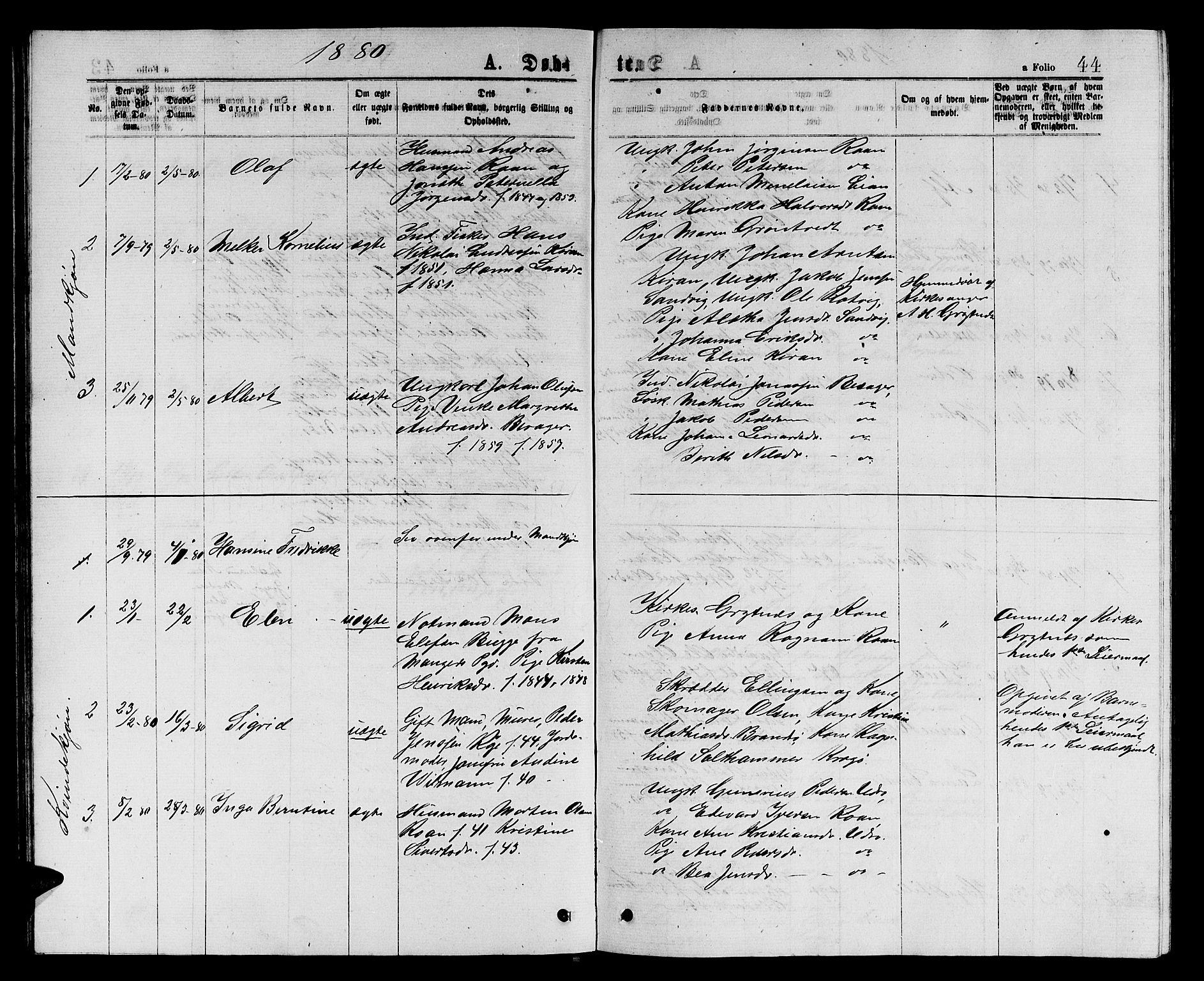 SAT, Ministerialprotokoller, klokkerbøker og fødselsregistre - Sør-Trøndelag, 657/L0715: Klokkerbok nr. 657C02, 1873-1888, s. 44