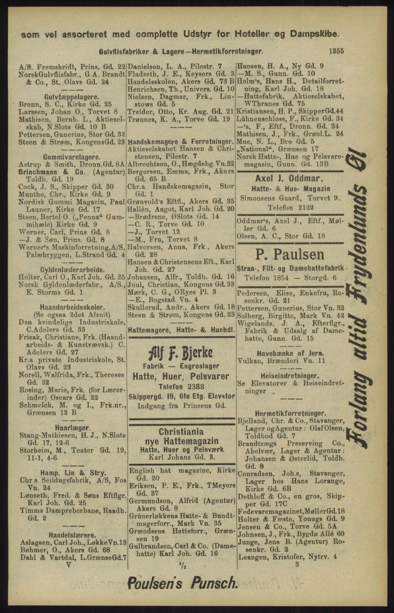 RA, Kristiania adressebok (publikasjon)*, 1904, s. 1355