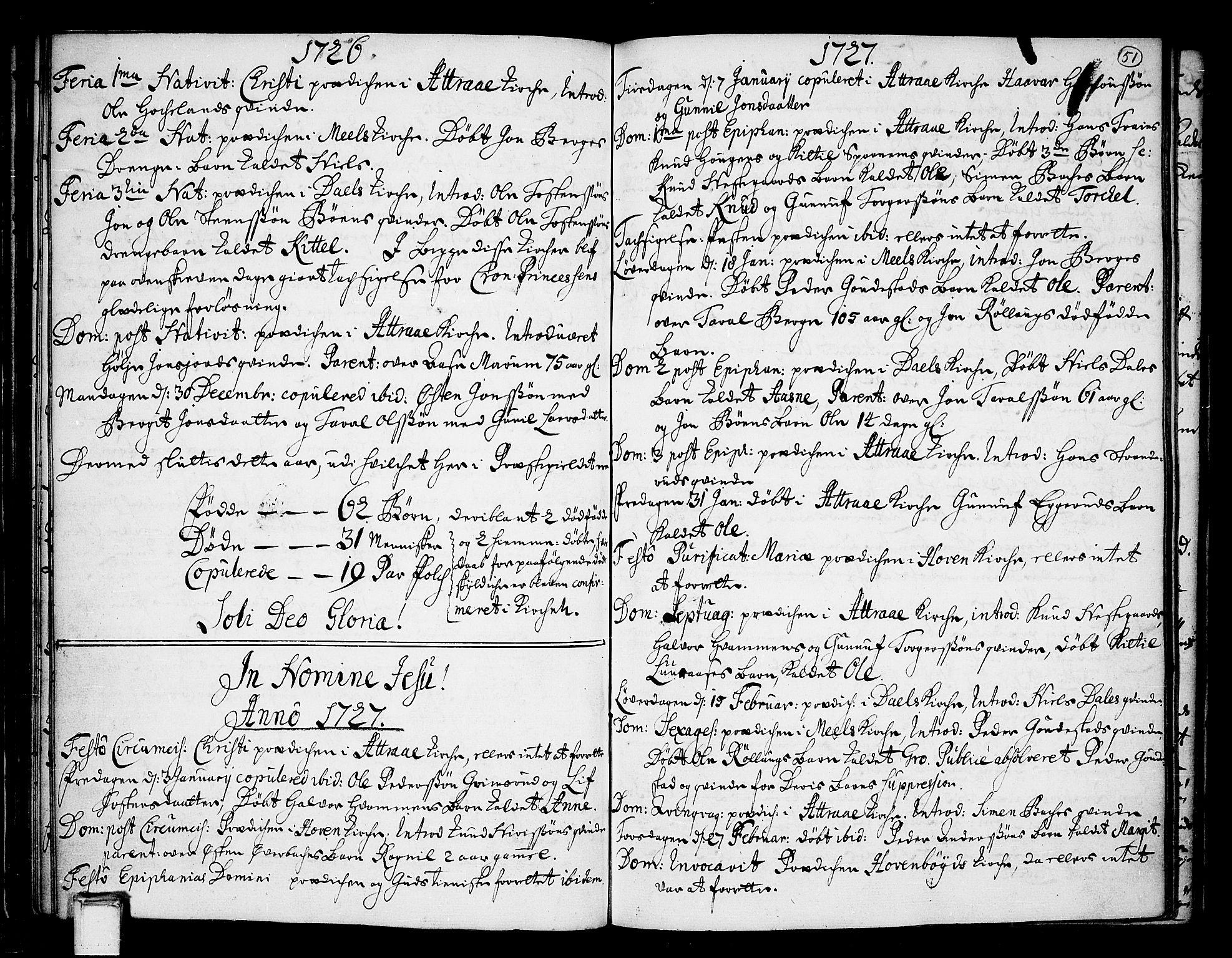 SAKO, Tinn kirkebøker, F/Fa/L0001: Ministerialbok nr. I 1, 1717-1734, s. 51