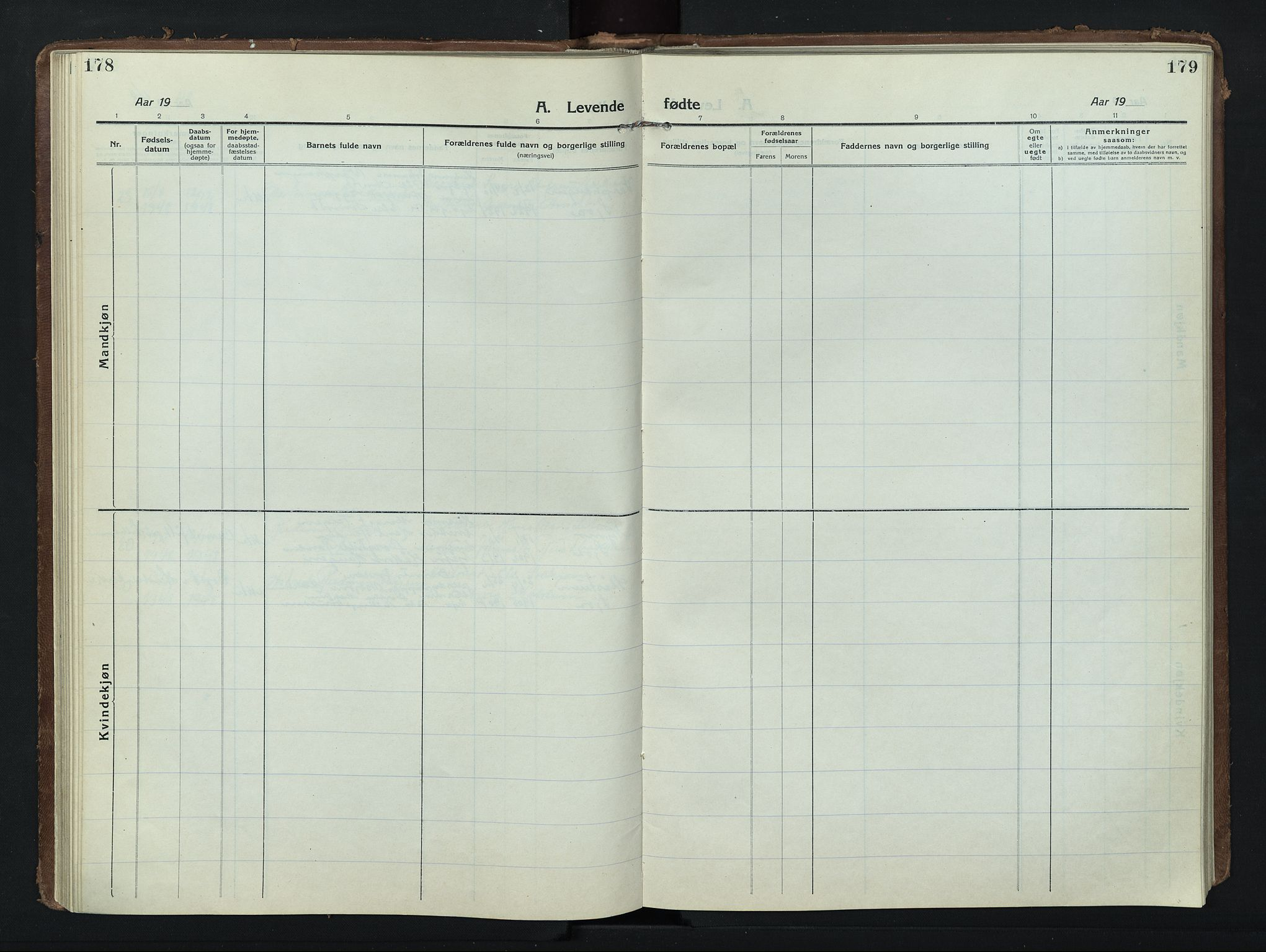 SAH, Nord-Fron prestekontor, Klokkerbok nr. 8, 1915-1948, s. 178-179