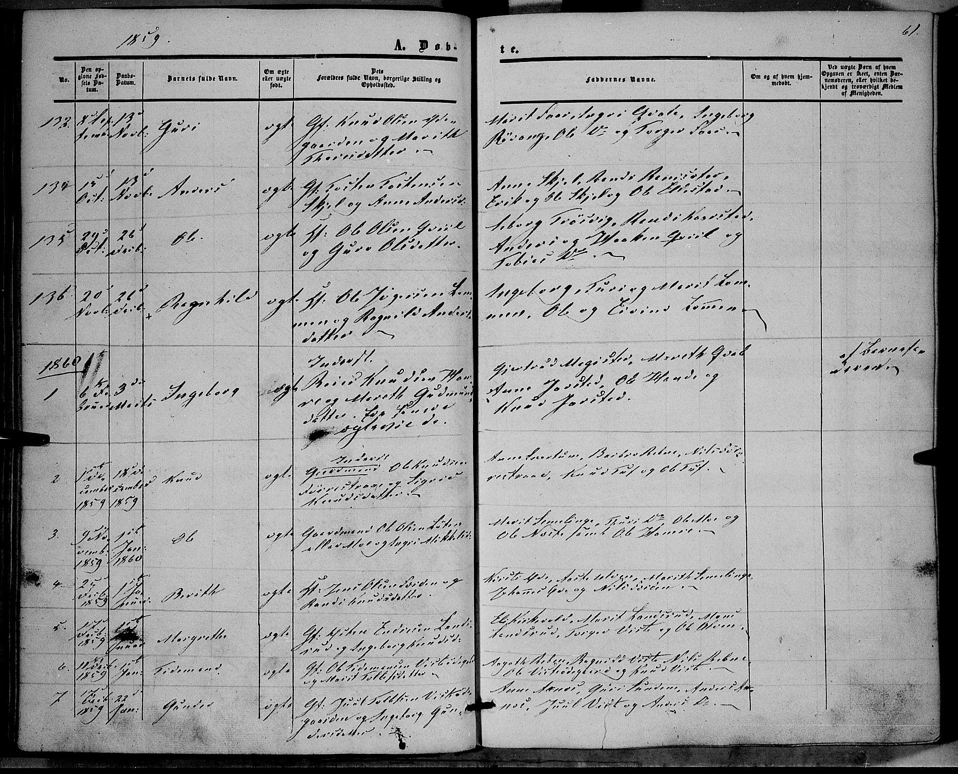 SAH, Vestre Slidre prestekontor, Ministerialbok nr. 2, 1856-1864, s. 61
