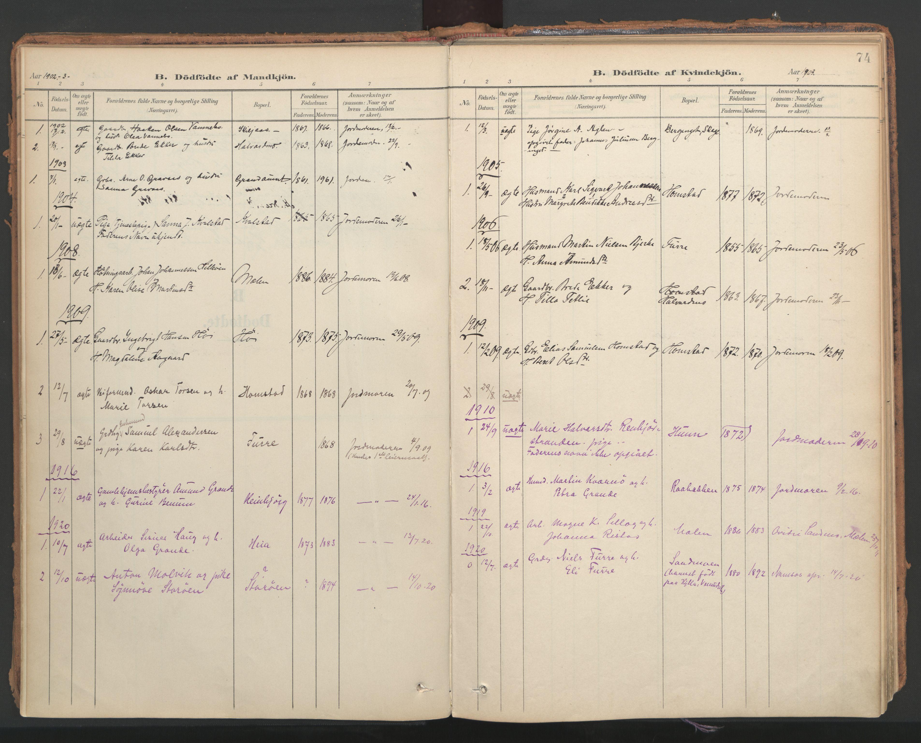 SAT, Ministerialprotokoller, klokkerbøker og fødselsregistre - Nord-Trøndelag, 766/L0564: Ministerialbok nr. 767A02, 1900-1932, s. 74