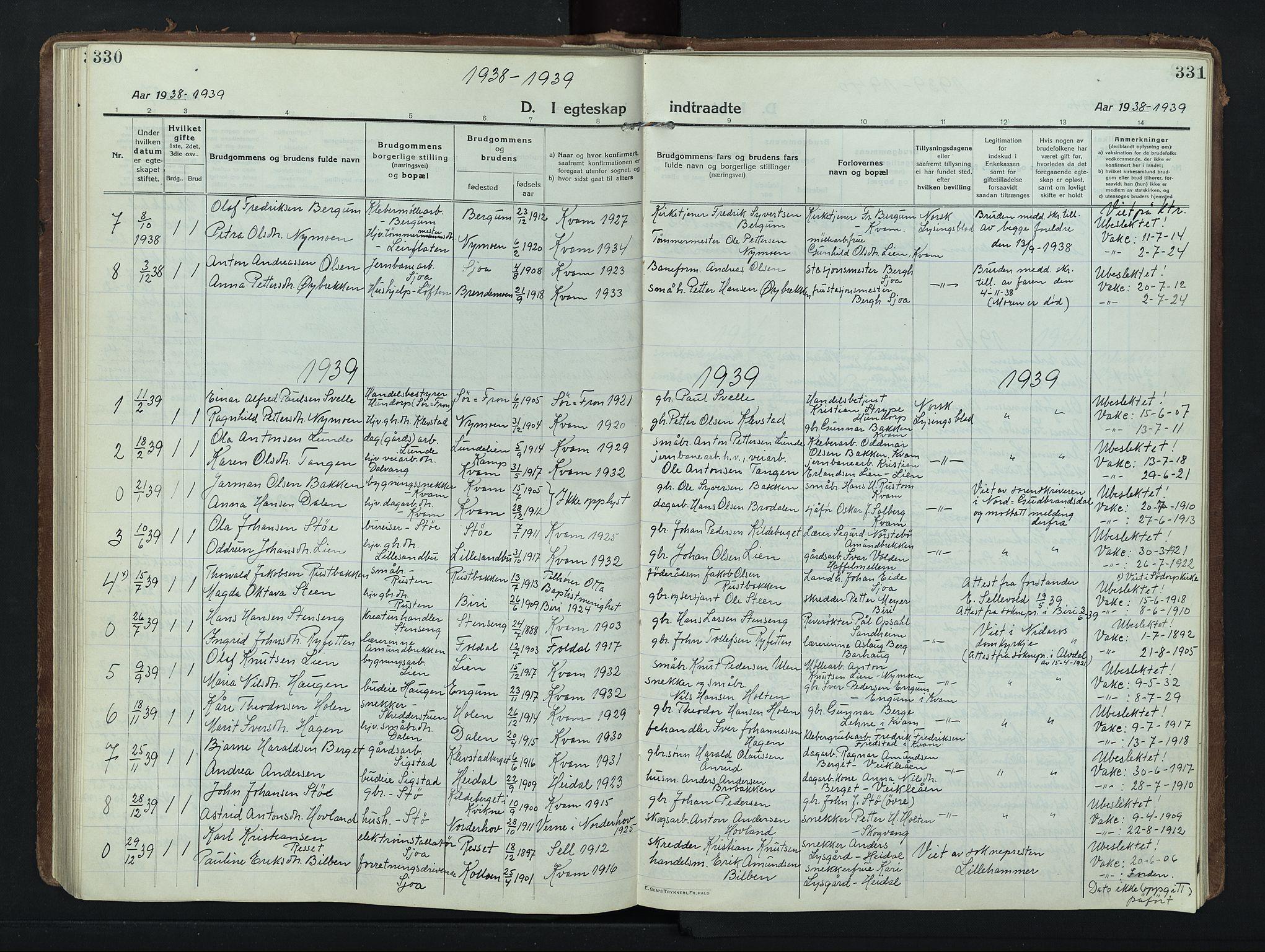 SAH, Nord-Fron prestekontor, Klokkerbok nr. 8, 1915-1948, s. 330-331