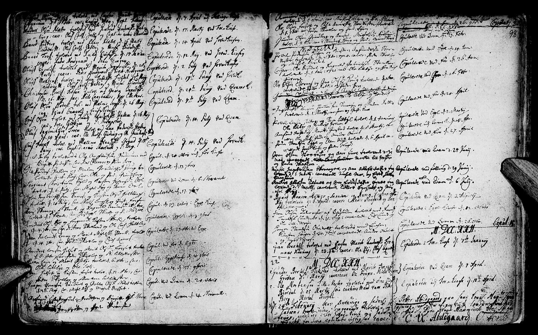 SAT, Ministerialprotokoller, klokkerbøker og fødselsregistre - Nord-Trøndelag, 746/L0439: Ministerialbok nr. 746A01, 1688-1759, s. 98