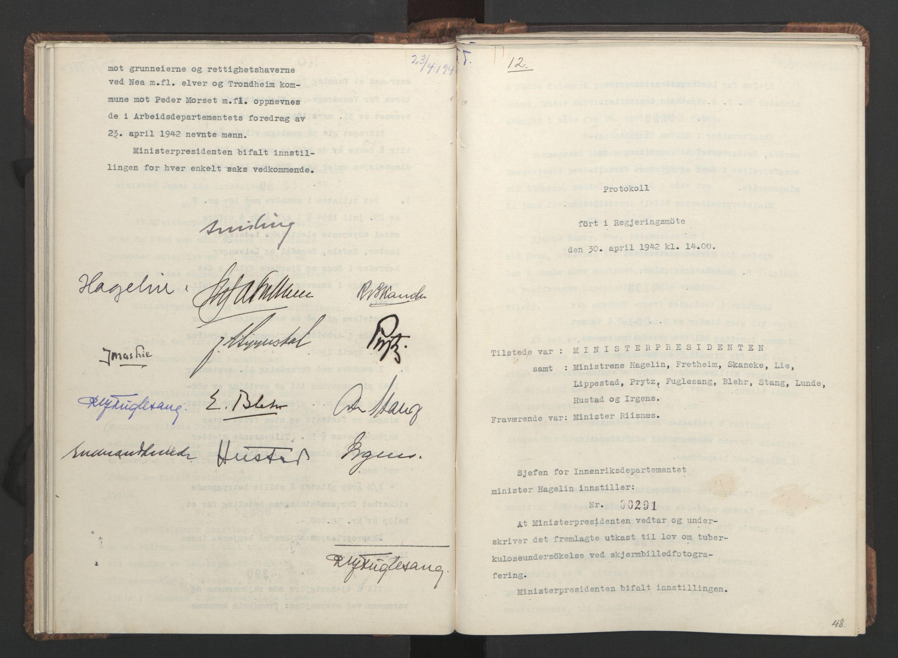 RA, NS-administrasjonen 1940-1945 (Statsrådsekretariatet, de kommisariske statsråder mm), D/Da/L0001: Beslutninger og tillegg (1-952 og 1-32), 1942, s. 47b-48a
