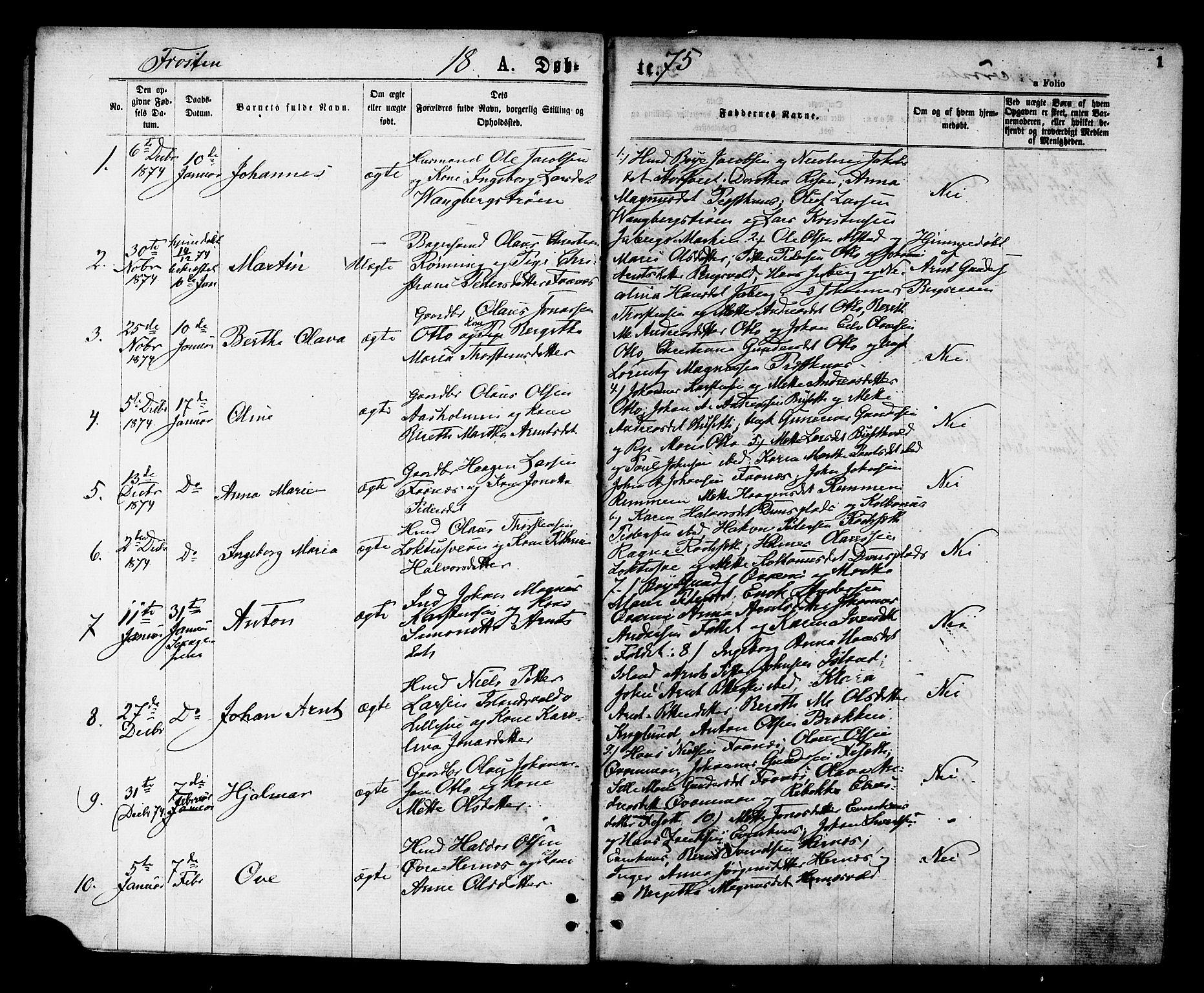 SAT, Ministerialprotokoller, klokkerbøker og fødselsregistre - Nord-Trøndelag, 713/L0118: Ministerialbok nr. 713A08 /1, 1875-1877, s. 1