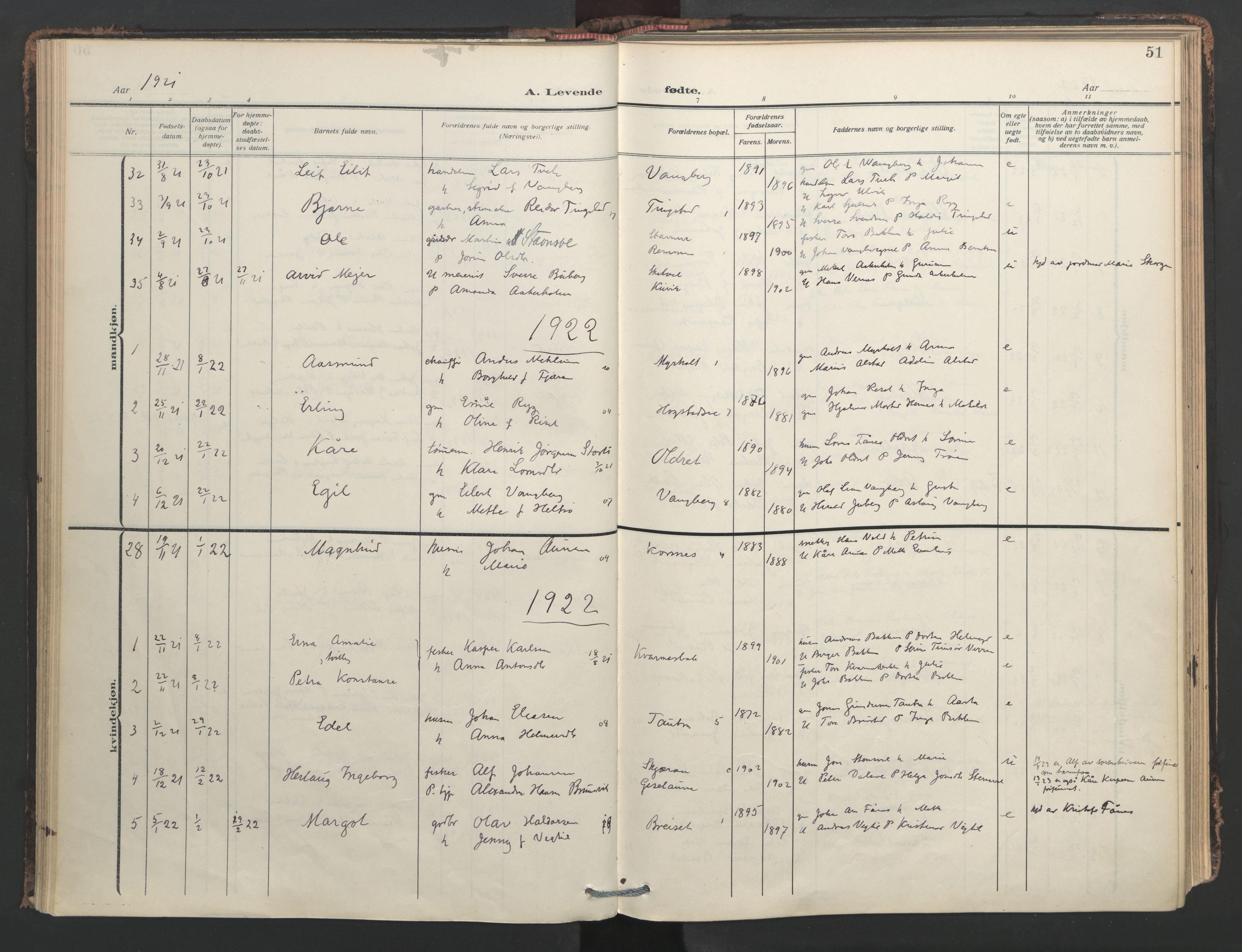 SAT, Ministerialprotokoller, klokkerbøker og fødselsregistre - Nord-Trøndelag, 713/L0123: Ministerialbok nr. 713A12, 1911-1925, s. 51