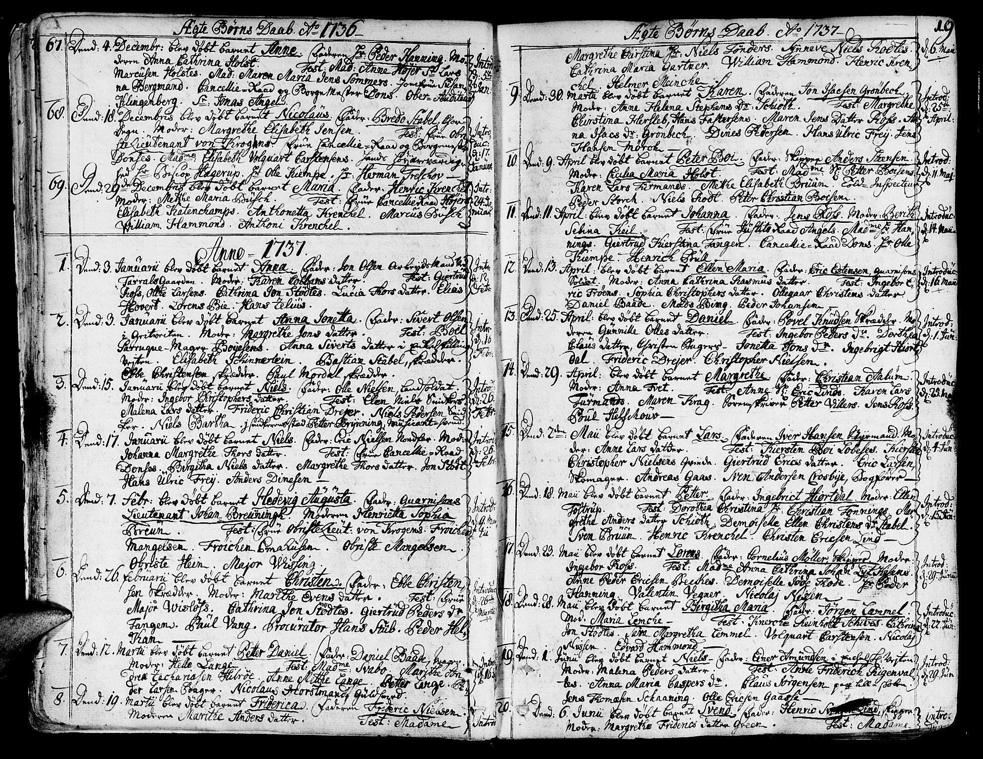 SAT, Ministerialprotokoller, klokkerbøker og fødselsregistre - Sør-Trøndelag, 602/L0103: Ministerialbok nr. 602A01, 1732-1774, s. 19