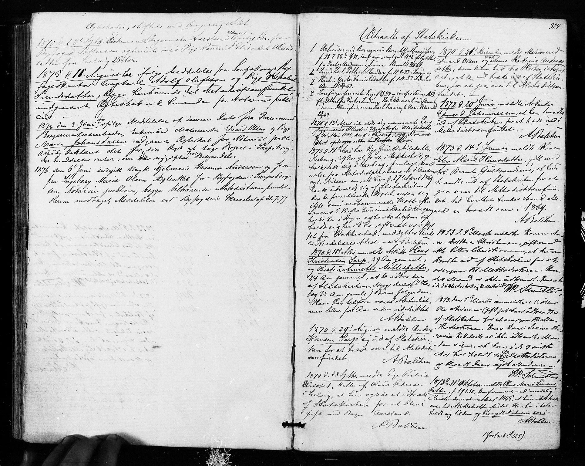 SAO, Sarpsborg prestekontor Kirkebøker, F/Fa/L0002: Ministerialbok nr. 2, 1869-1877, s. 324