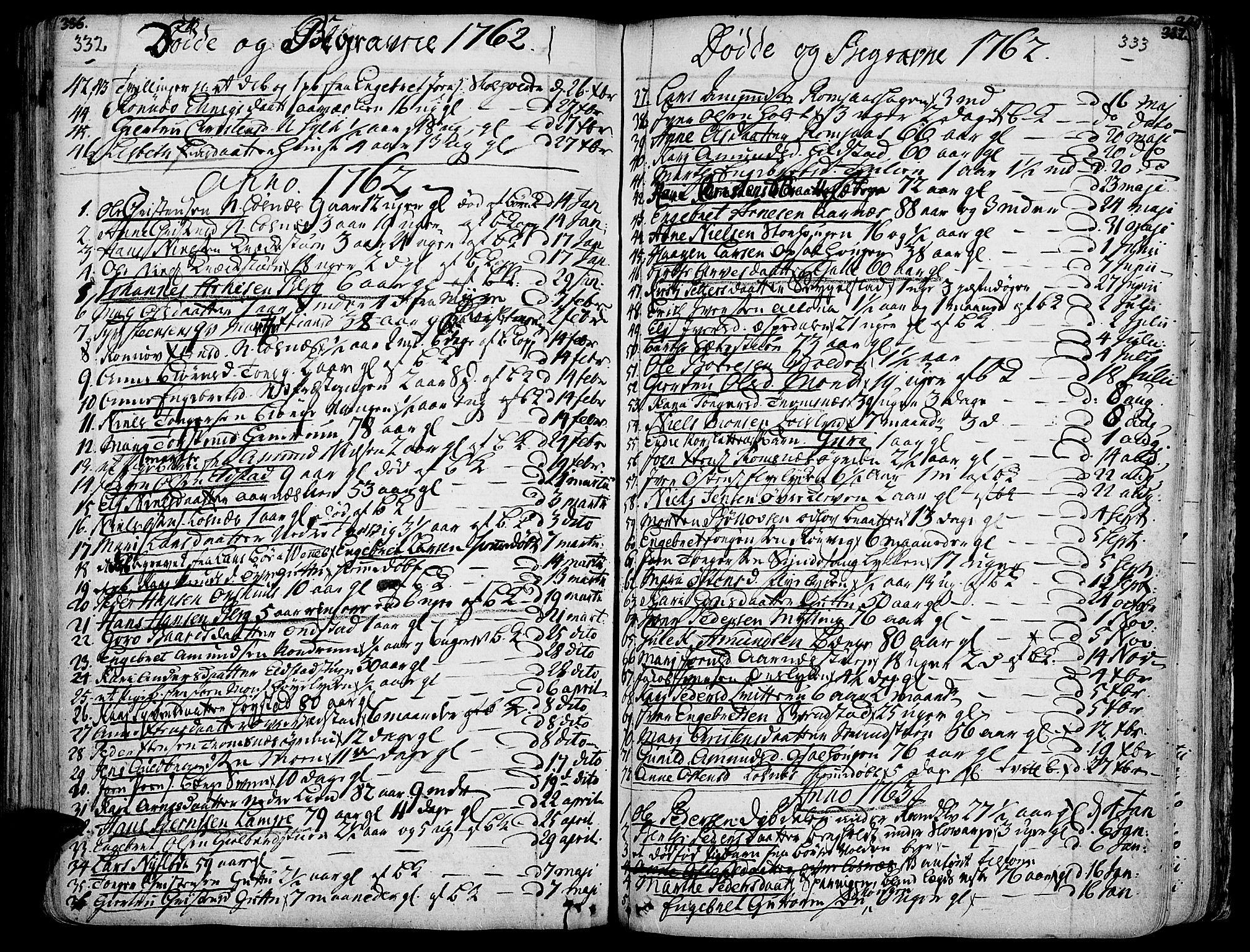 SAH, Ringebu prestekontor, Ministerialbok nr. 2, 1734-1780, s. 332-333