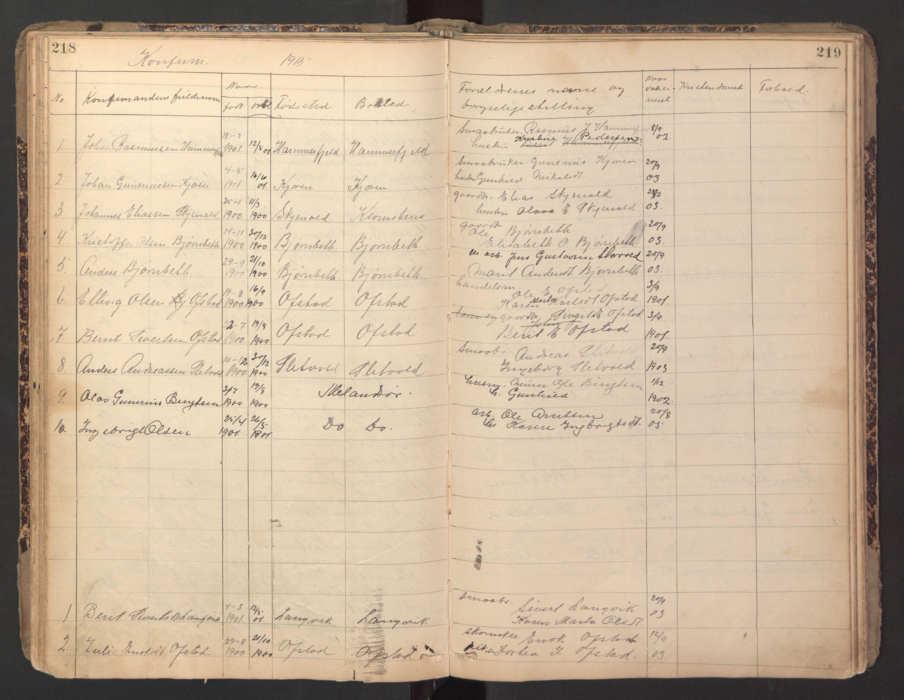 SAT, Ministerialprotokoller, klokkerbøker og fødselsregistre - Sør-Trøndelag, 670/L0837: Klokkerbok nr. 670C01, 1905-1946, s. 218-219