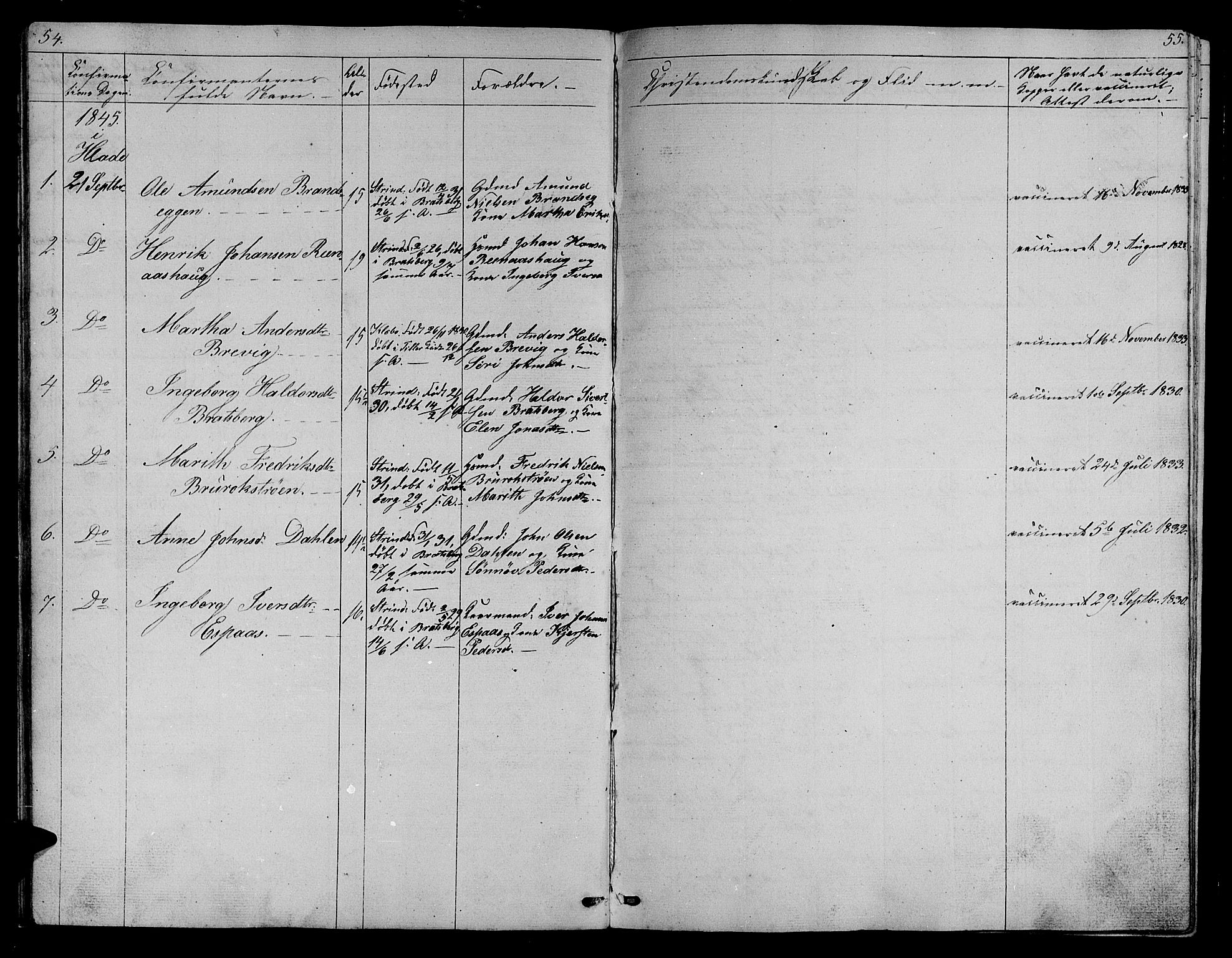 SAT, Ministerialprotokoller, klokkerbøker og fødselsregistre - Sør-Trøndelag, 608/L0339: Klokkerbok nr. 608C05, 1844-1863, s. 54-55