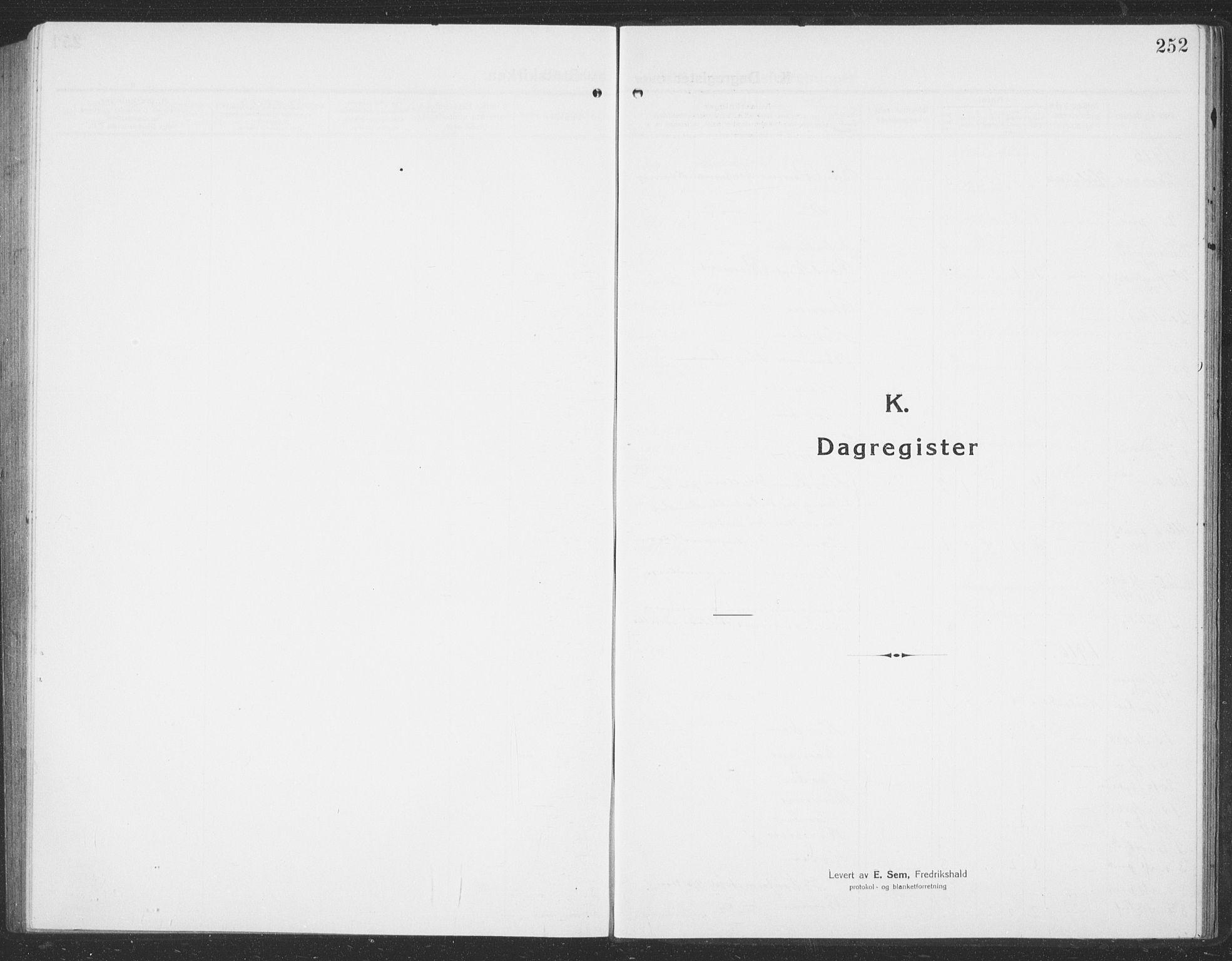 SAT, Ministerialprotokoller, klokkerbøker og fødselsregistre - Sør-Trøndelag, 694/L1134: Klokkerbok nr. 694C06, 1915-1937, s. 252