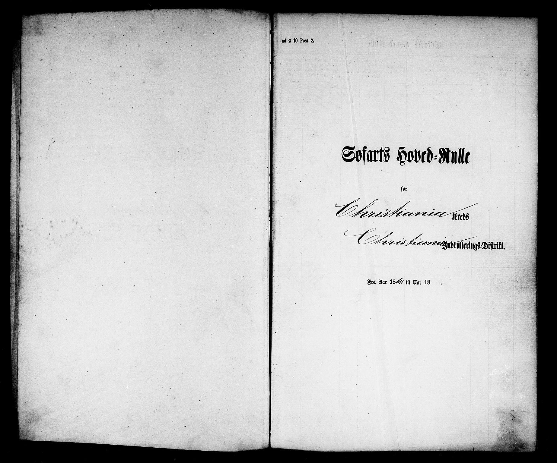 SAO, Oslo mønstringskontor, F/Fc/Fcb/L0002: Hovedrulle, 1864, s. upaginert