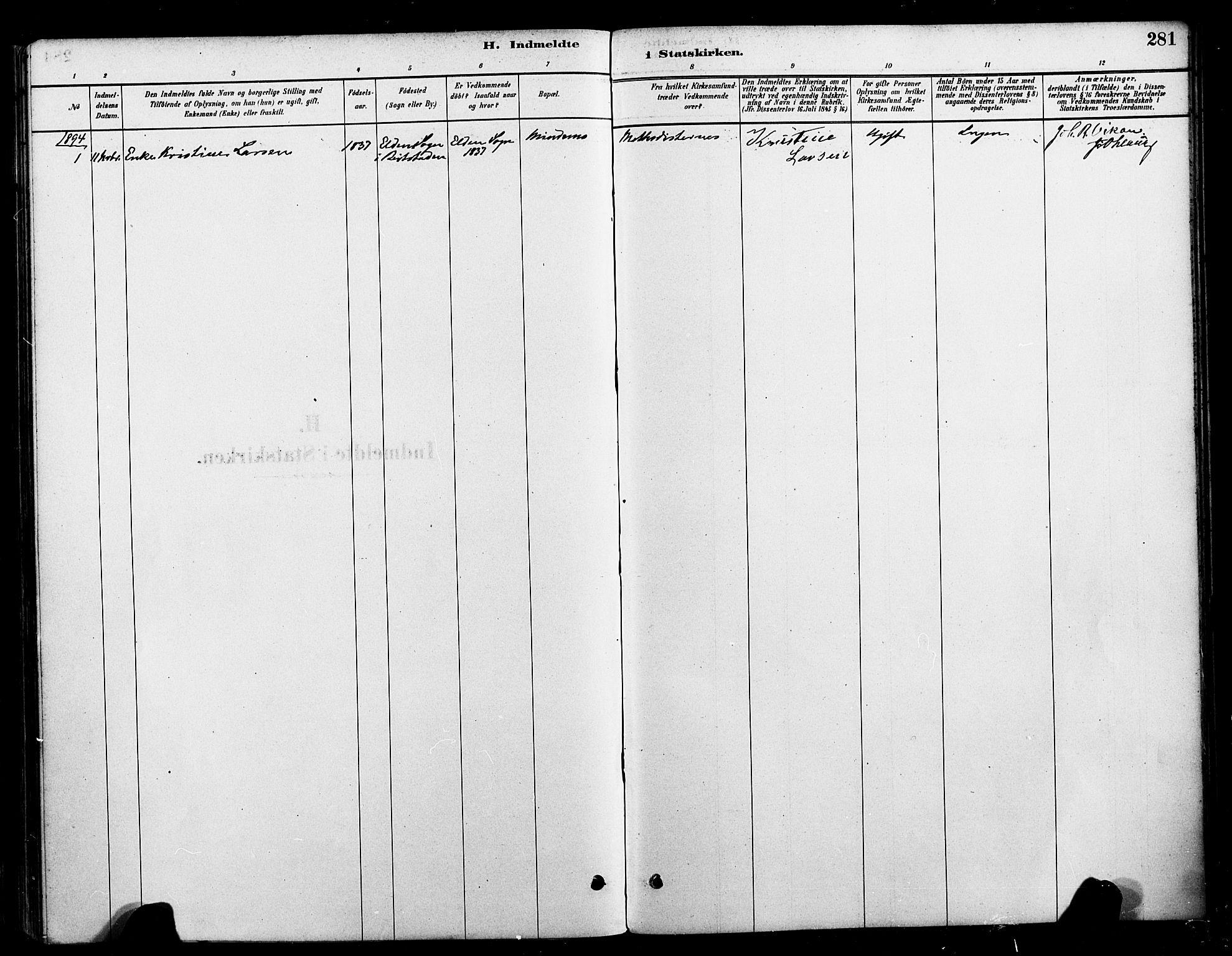 SAT, Ministerialprotokoller, klokkerbøker og fødselsregistre - Nord-Trøndelag, 709/L0077: Ministerialbok nr. 709A17, 1880-1895, s. 281