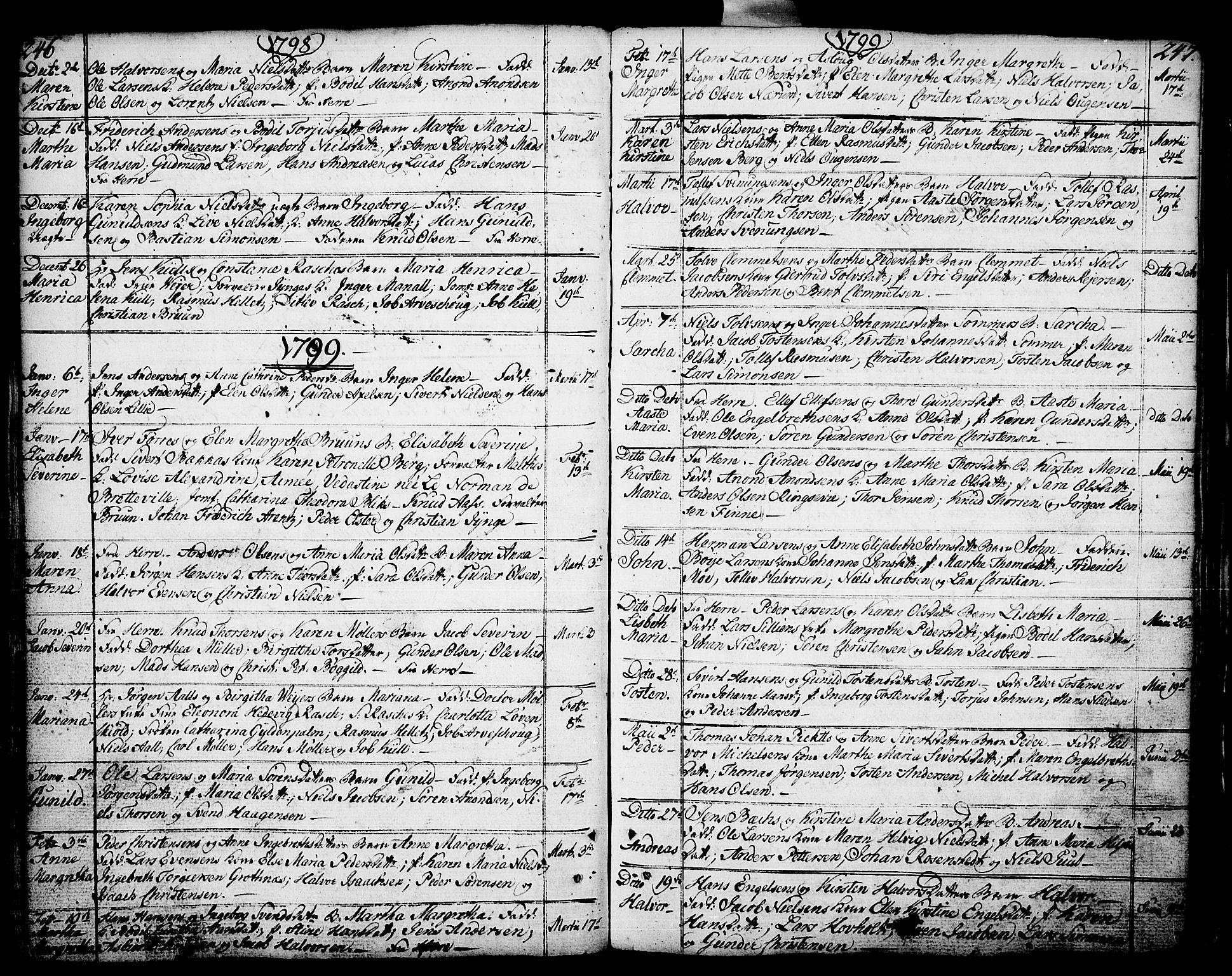 SAKO, Porsgrunn kirkebøker , F/Fa/L0002: Ministerialbok nr. 2, 1764-1814, s. 246-247