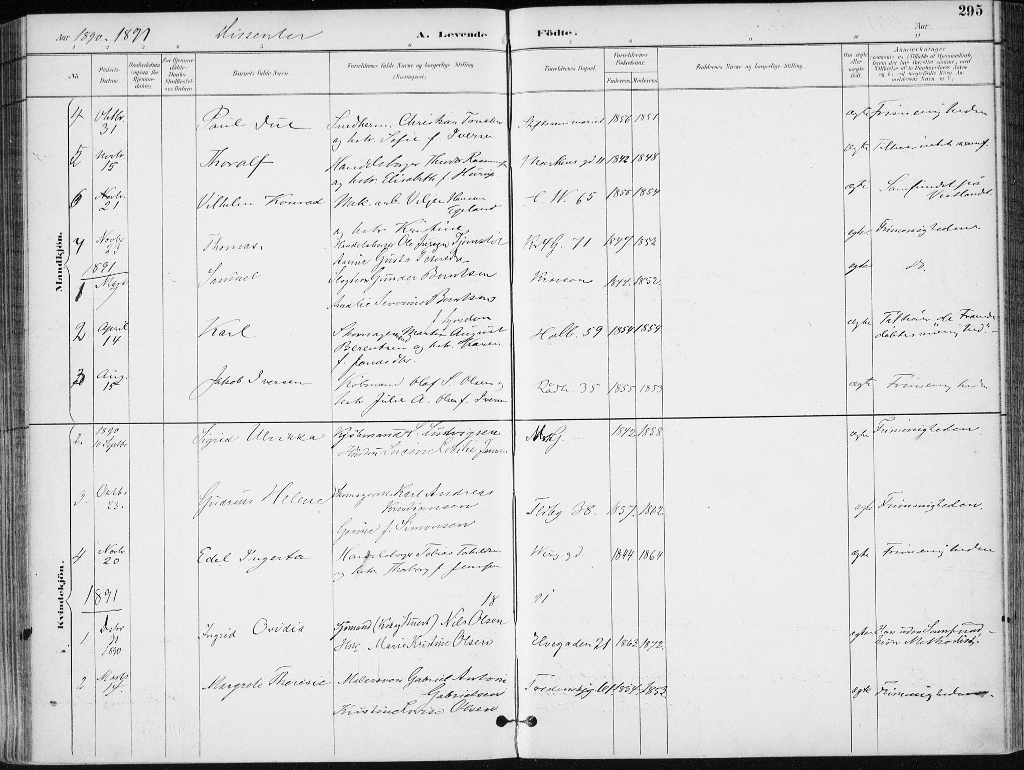 SAK, Kristiansand domprosti, F/Fa/L0019: Ministerialbok nr. A 18, 1890-1897, s. 295