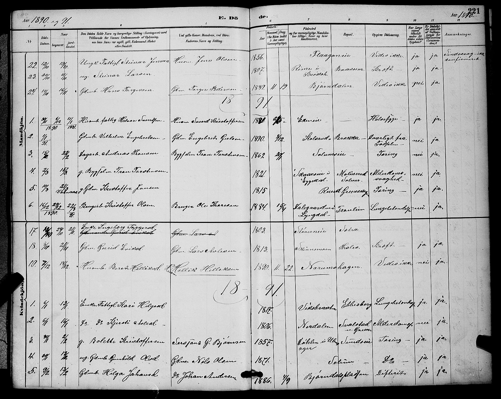SAKO, Sigdal kirkebøker, G/Ga/L0005: Klokkerbok nr. I 5, 1886-1900, s. 221
