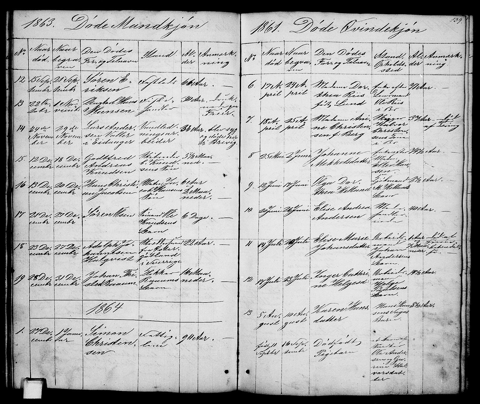 SAKO, Brevik kirkebøker, G/Ga/L0002: Klokkerbok nr. 2, 1846-1865, s. 139