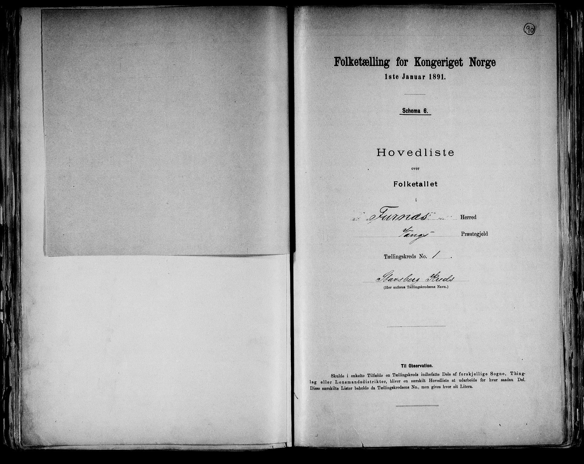 RA, Folketelling 1891 for 0413 Furnes herred, 1891, s. 6