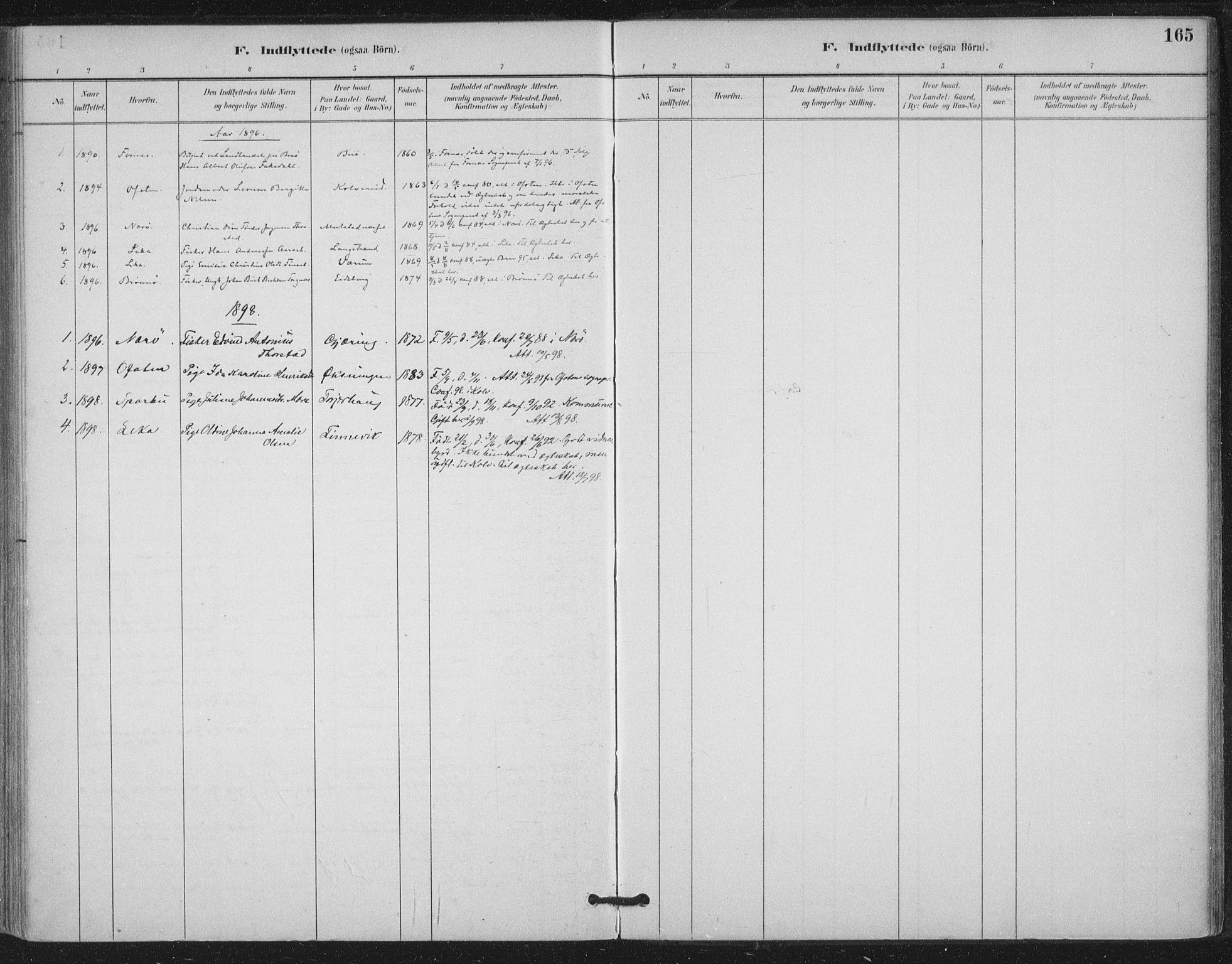 SAT, Ministerialprotokoller, klokkerbøker og fødselsregistre - Nord-Trøndelag, 780/L0644: Ministerialbok nr. 780A08, 1886-1903, s. 165