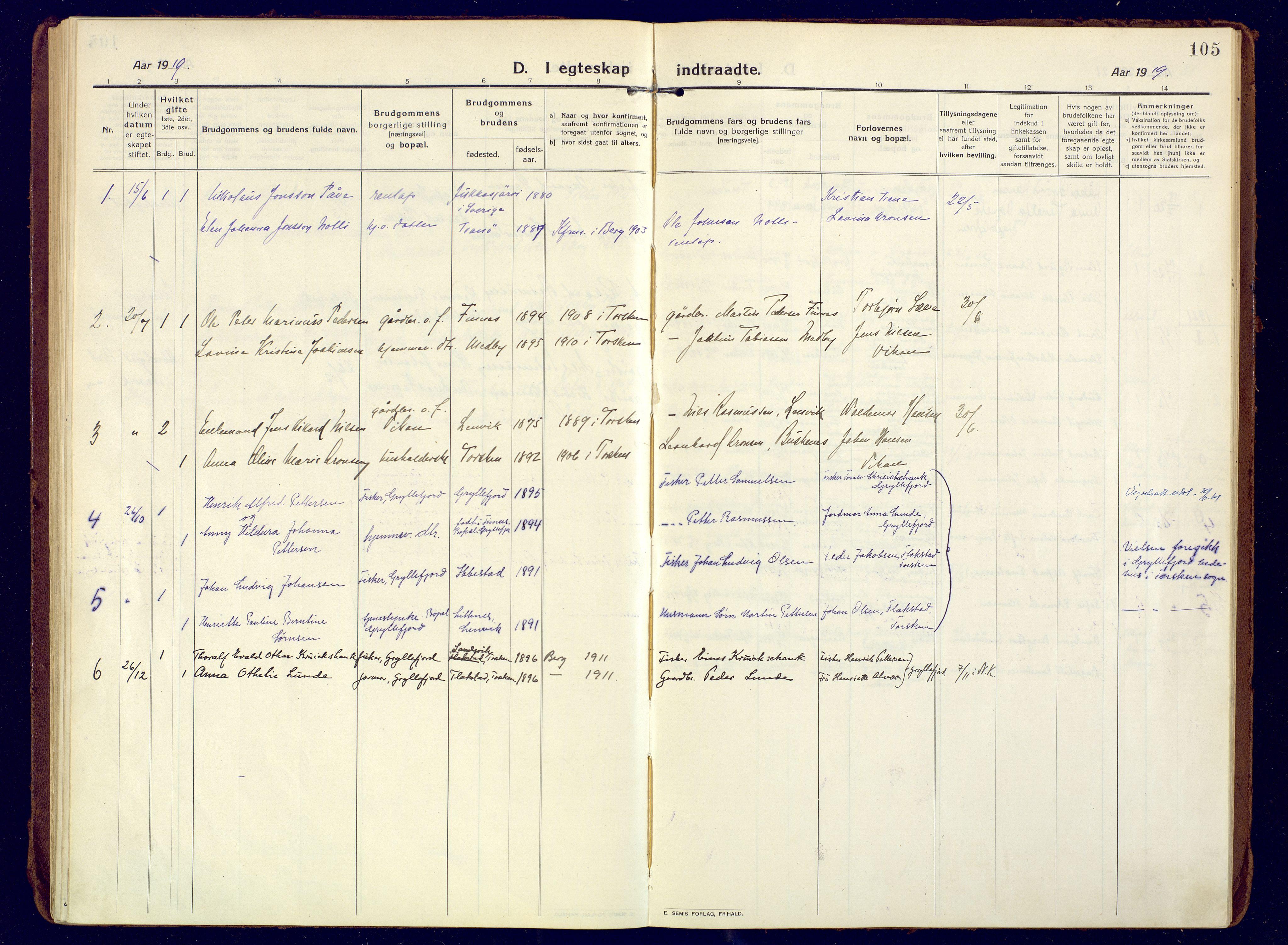 SATØ, Mefjord/Berg sokneprestkontor, G/Ga/Gaa: Ministerialbok nr. 10, 1916-1928, s. 105