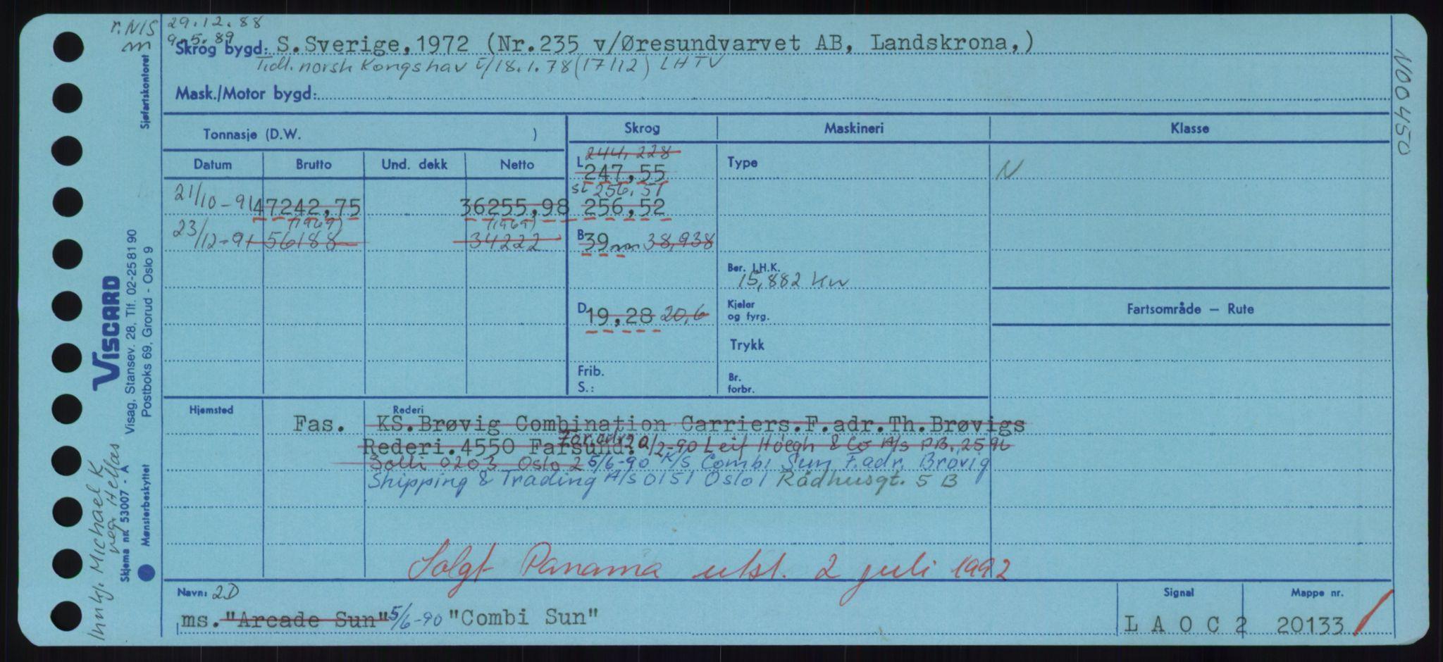 RA, Sjøfartsdirektoratet med forløpere, Skipsmålingen, H/Hd/L0008: Fartøy, C-D, s. 121