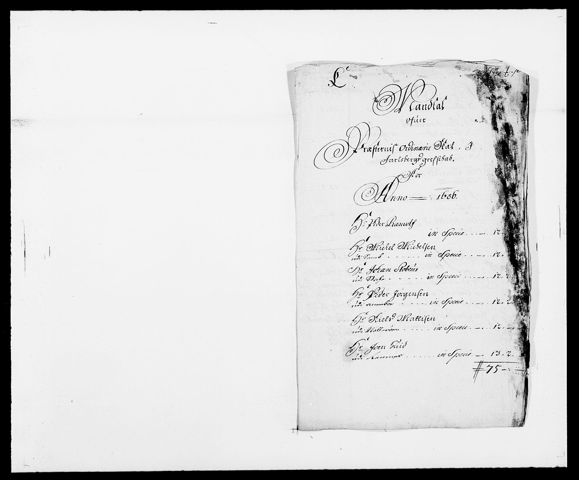 RA, Rentekammeret inntil 1814, Reviderte regnskaper, Fogderegnskap, R32/L1857: Fogderegnskap Jarlsberg grevskap, 1686-1690, s. 412