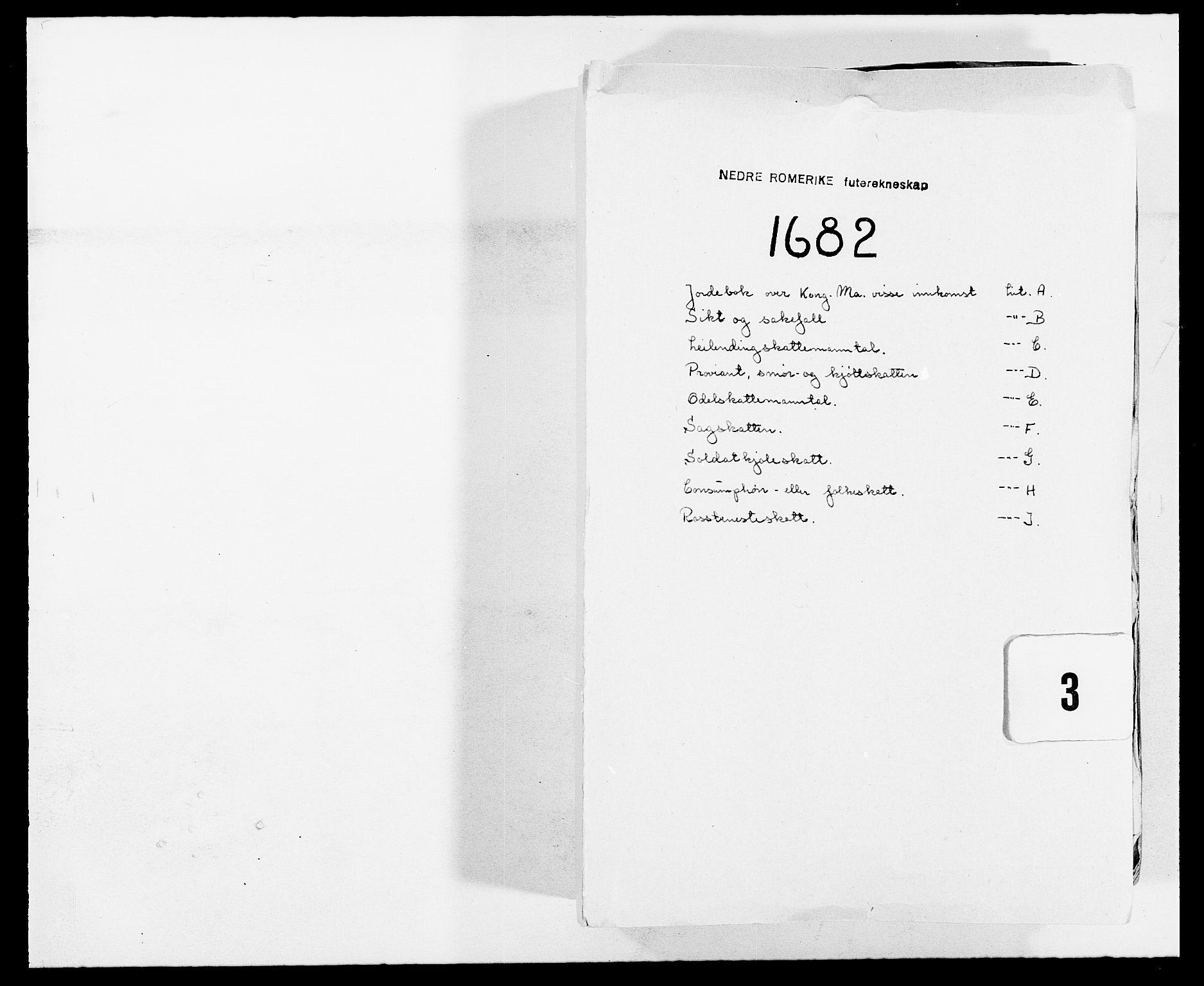 RA, Rentekammeret inntil 1814, Reviderte regnskaper, Fogderegnskap, R11/L0570: Fogderegnskap Nedre Romerike, 1682, s. 1